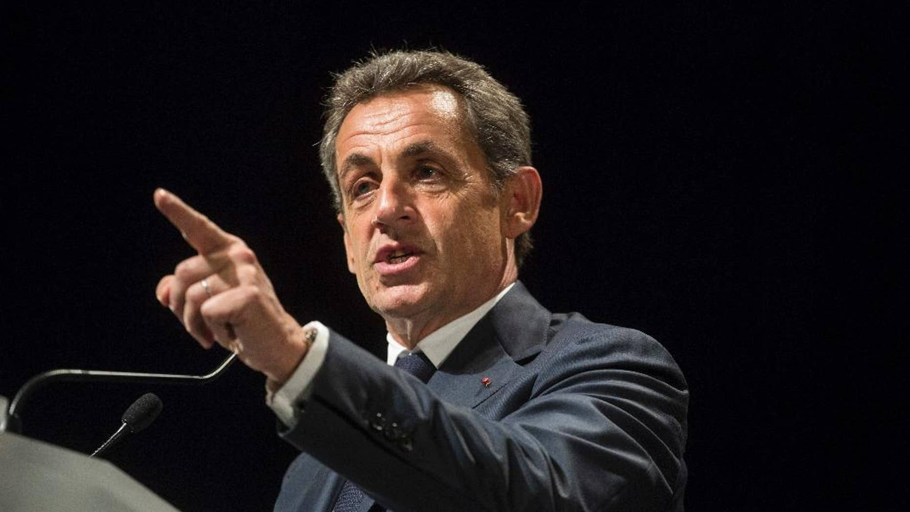 Former French President and candidate for France's conservative presidential primary Nicolas Sarkozy delivers a speech in early November.