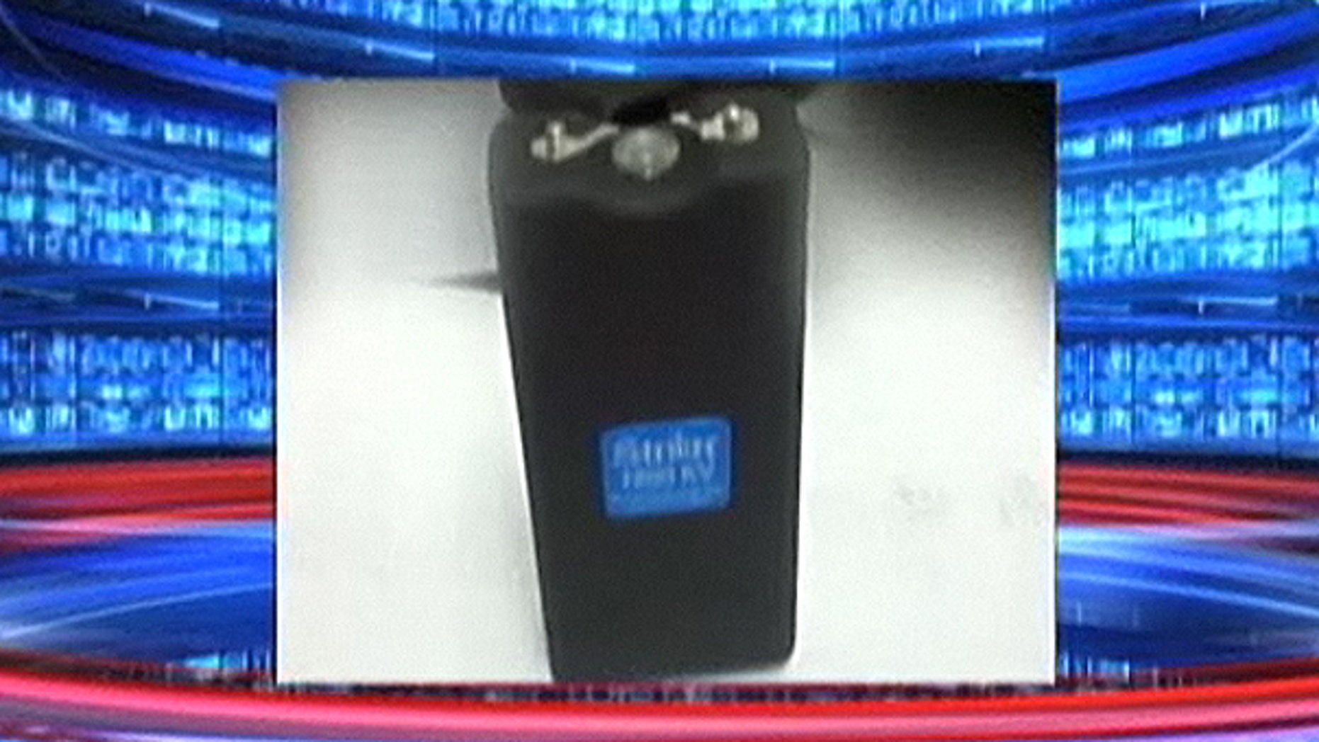 This screengrab from Fox 5 shows the stun gun found by JetBlue employees.