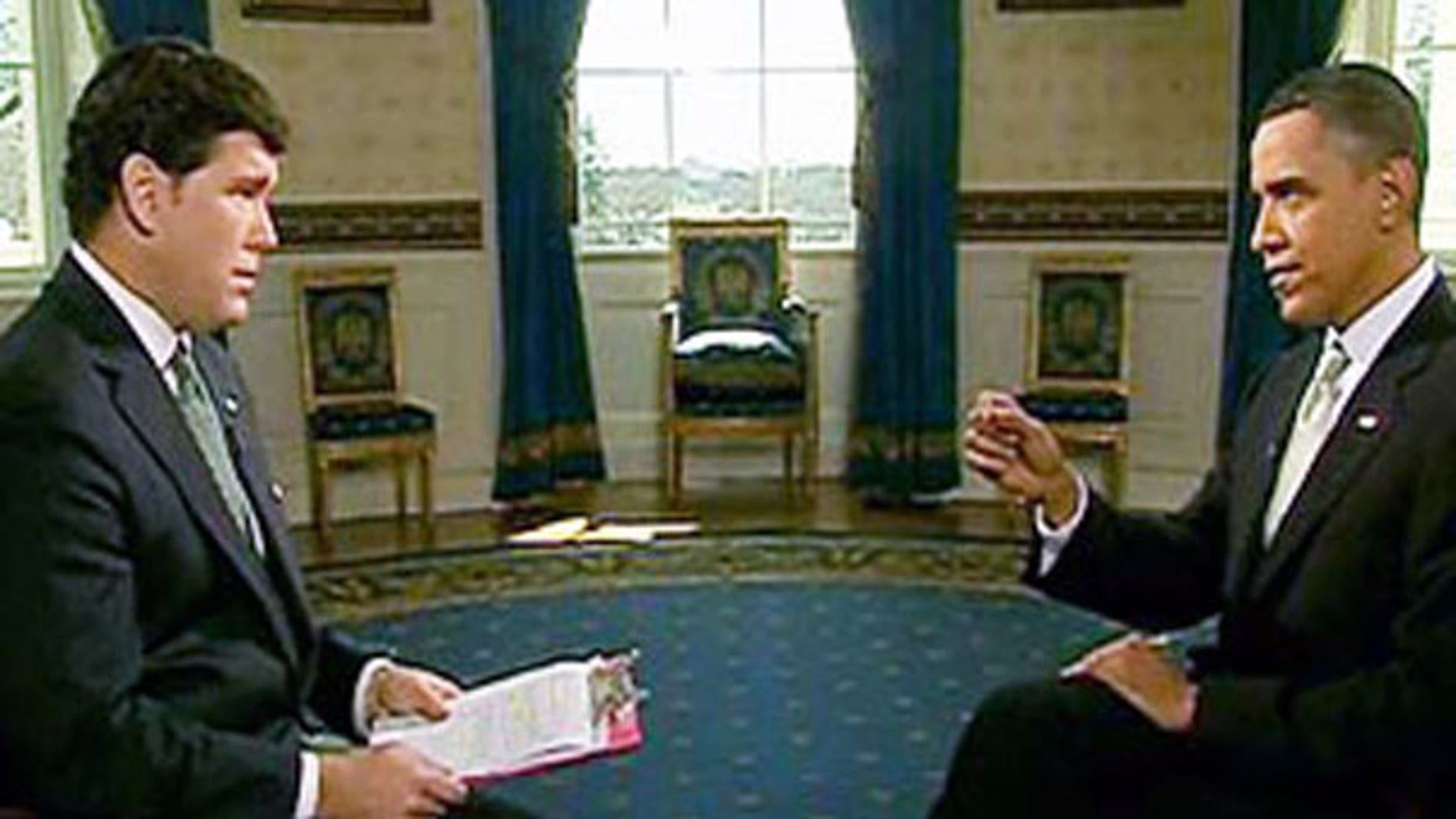 President Obama speaks with 'Special Report' host Bret Baier March 17 at the White House. (FNC)