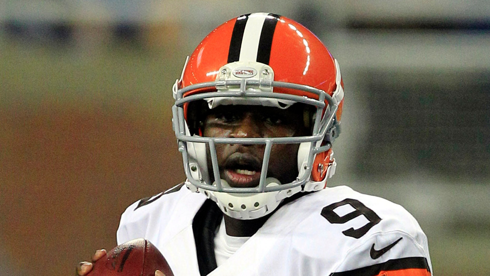 FILE - In this Aug. 10, 2012, file photo, Cleveland Browns quarterback Thaddeus Lewis looks down field during the second half of an NFL preseason football game against the Detroit Lions in Detroit. Elevated from the practice squad on Monday, Lewis could make his NFL debut in Pittsburgh on Sunday. (AP Photo/Carlos Osorio, File)