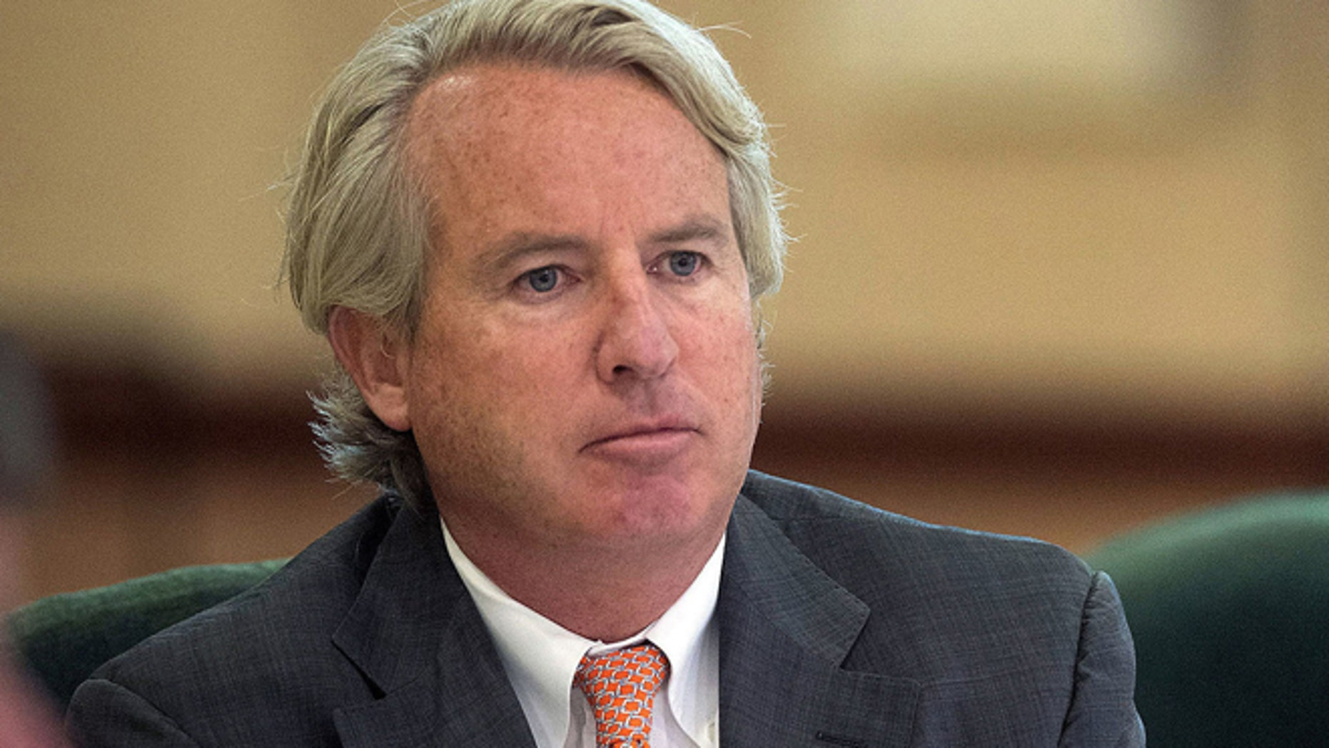 Sept. 11, 2014: University of Illinois Board of Trustees Chairman Chris Kennedy, listens during a trustees meeting in Urbana, Ill.