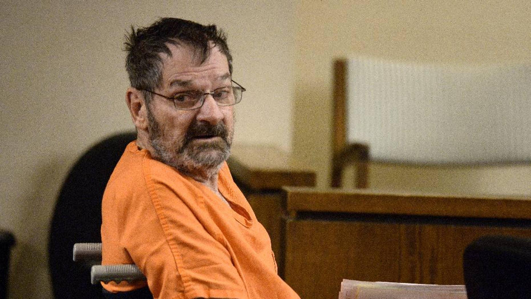 April 24, 2014: Frazier Glenn Cross, who is also known as Frazier Glenn Miller, looks around after being wheeled into court in Olathe, Kan. (AP/The Kansas City Star, John Sleezer)