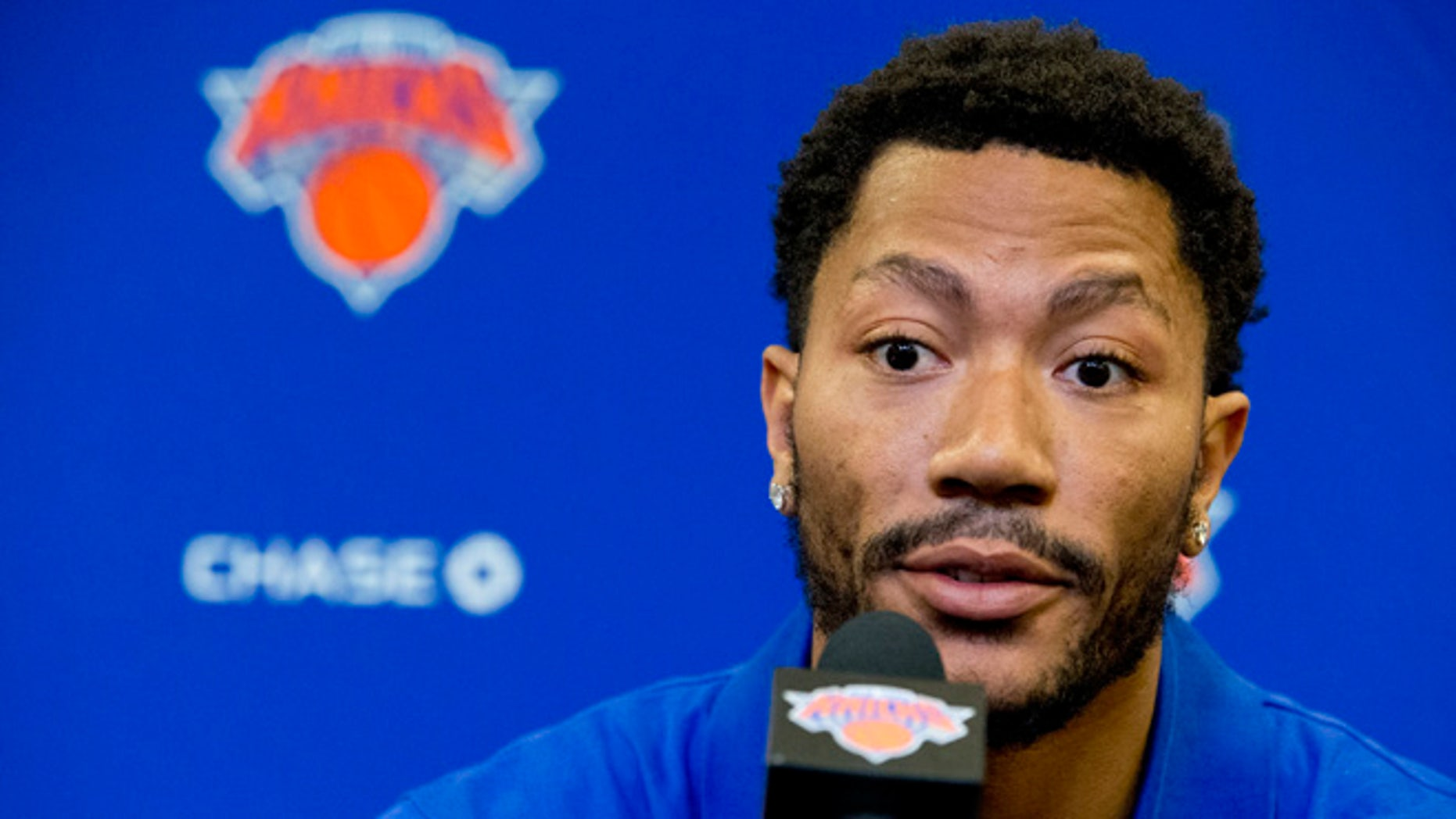 Derrick Rose during a news conference on June 24, 2016 at Madison Square Garden in New York.