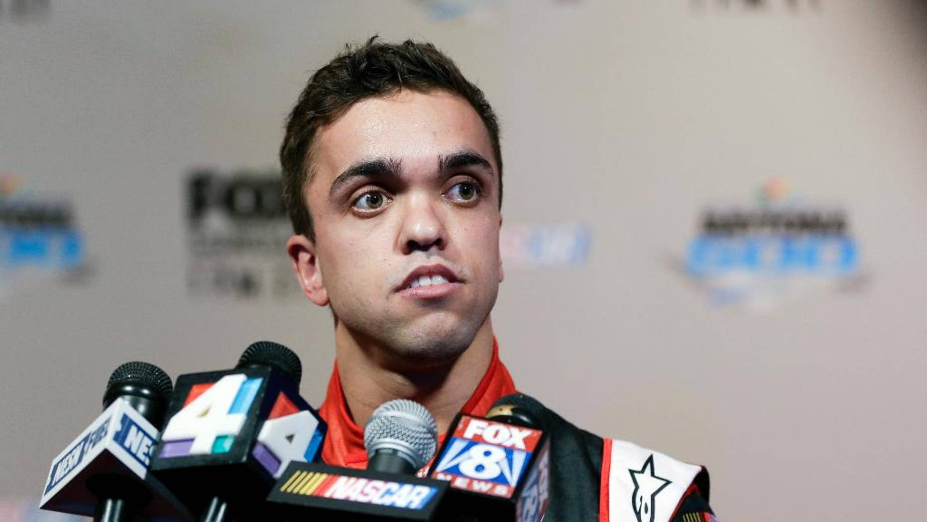FILE - In this Feb. 16, 2016, file photo, truck series driver Rico Abreu answers questions from members of the media during NASCAR media day at Daytona International Speedwayin Daytona Beach, Fla. Abreu has roughly a dozen starts at Eldora Speedway, where the Truck Series races next week and Abreu likely has his best chance to qualify for NASCAR's playoffs. (AP Photo/John Raoux, File)