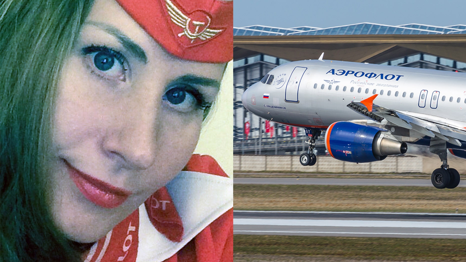 A Russian Aeroflot stewardess was murdered by her actor husband.