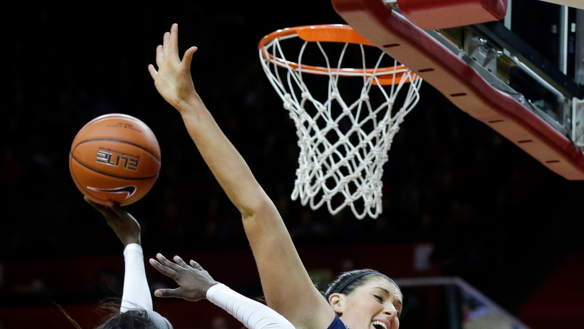 Connecticut center Stefanie Dolson (31) tries to block a shot by Rutgers forward Kahleah Copper (2) during the first half of an NCAA women's college basketball game, Sunday, Jan. 19, 2014, in Piscataway, N.J. Connecticut won 94-64. (AP Photo/Mel Evans)