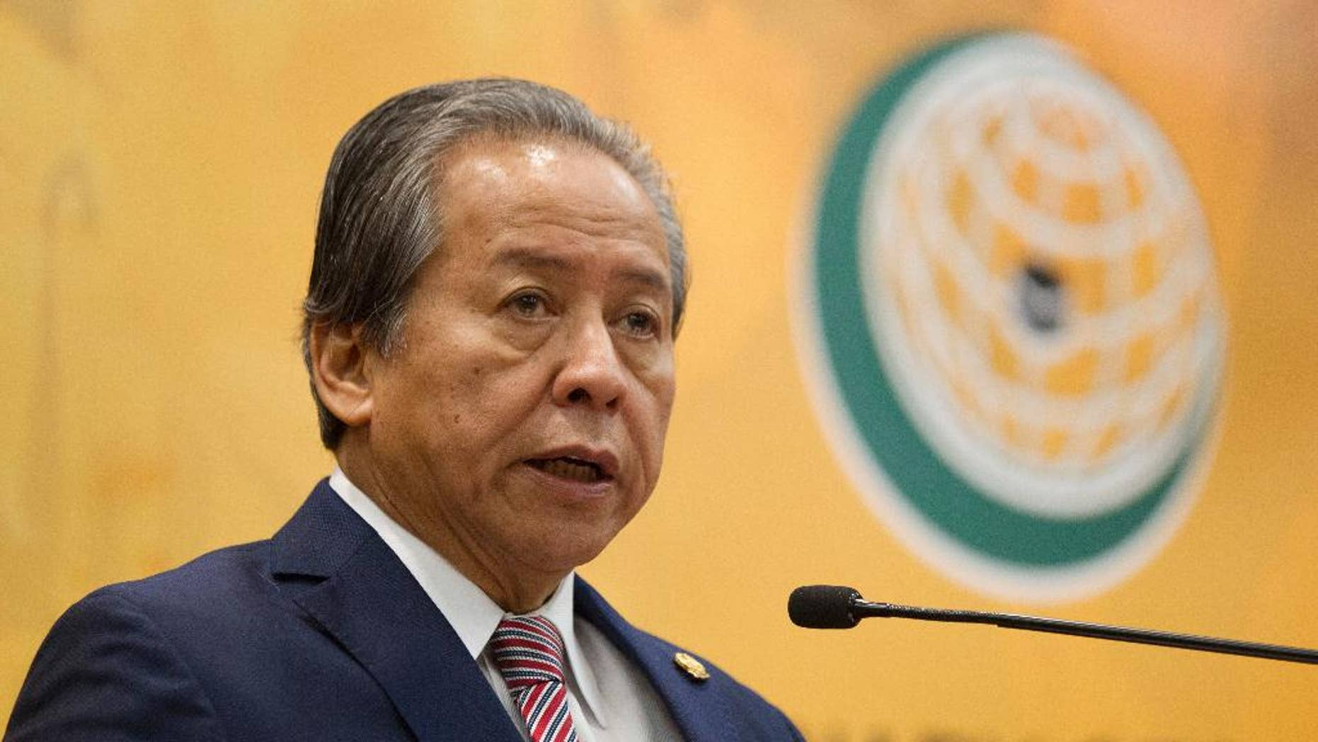 Malaysian Foreign Minister Anifah Aman speaks during a press conference a day before the Extraordinary Session of the OIC Council of Foreign Ministers on the situation of the Rohingya Muslim Minority in Myanmar at a conference center in Kuala Lumpur, Malaysia, Wednesday, Jan. 18, 2017. The meeting will be held in Kuala Lumpur, tomorrow Jan.19, to discuss the plight of the Rohingya Muslim Minority in Myanmar. (AP Photo/Lim Huey Teng)