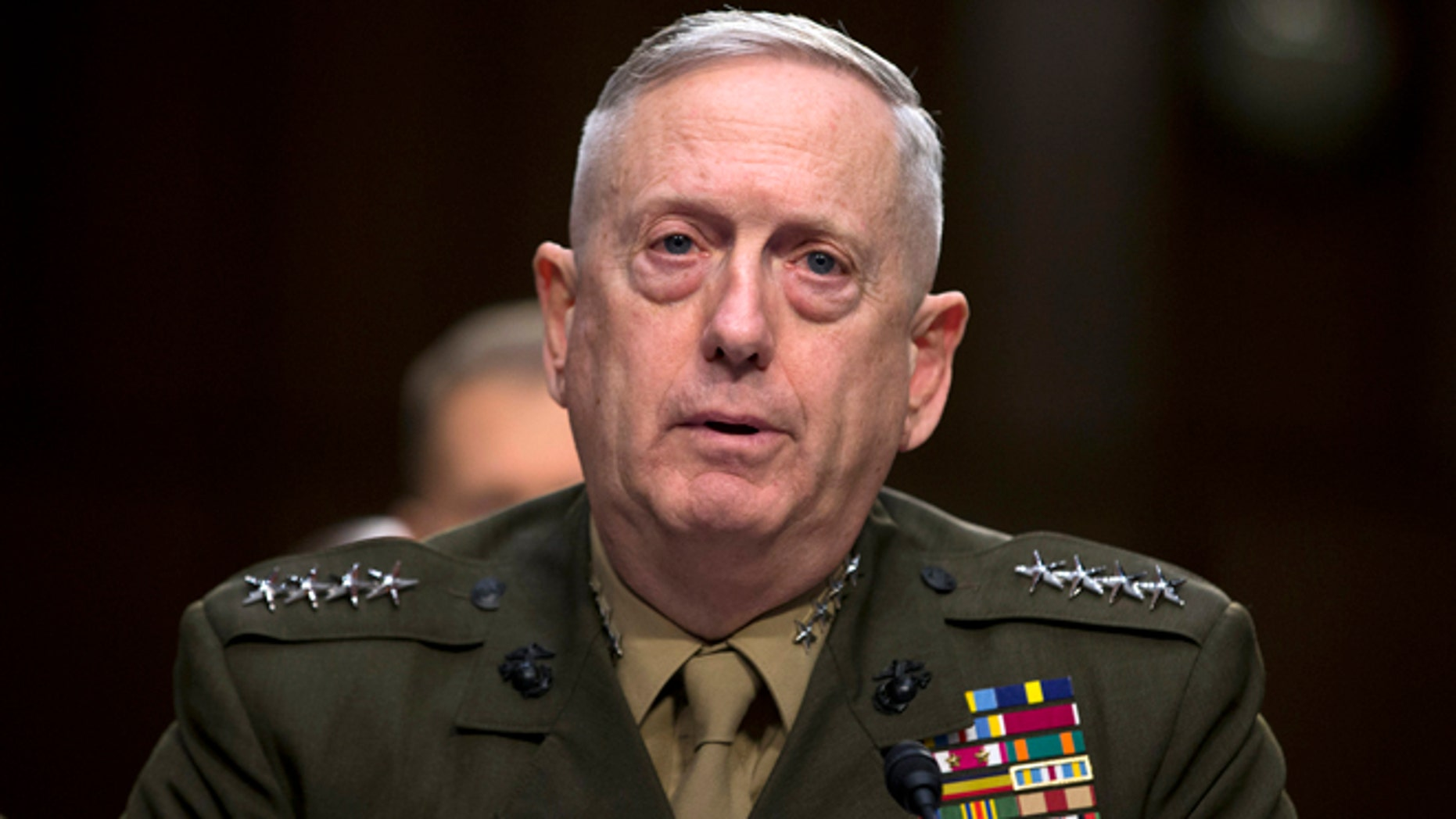 FILE -- FLE - In this March 5, 2013, file photo, then-Marine Gen. James Mattis, commander, U.S. Central Command, testifies on Capitol Hill in Washington.