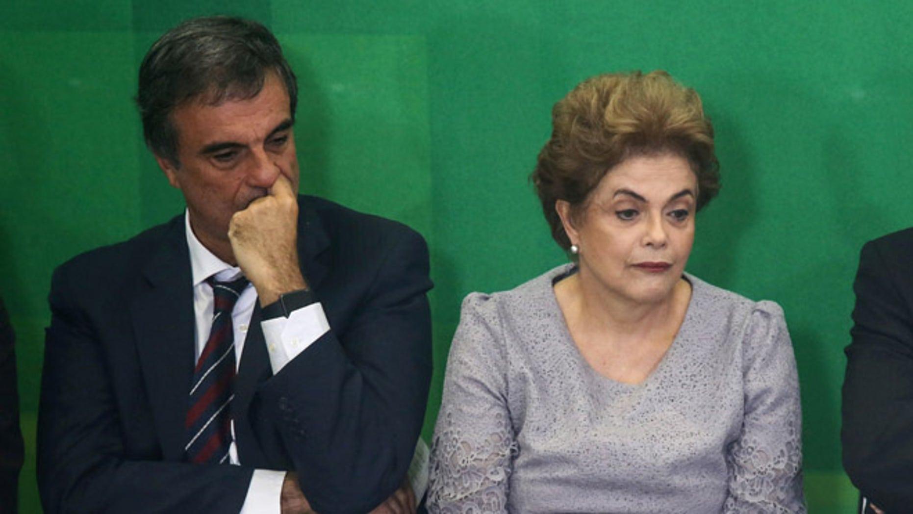 Brazilian President Dilma Rousseff and Attorney General Jose Eduardo Cardozo on March 22, 2016.
