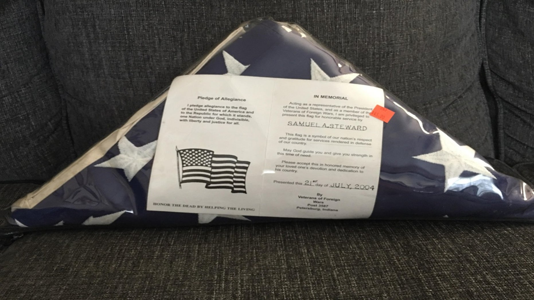 A Kentucky woman found a flag at a Peddler's Mall store in Bardstown last week that was dedicated to fallen veteran Samuel A. Steward.