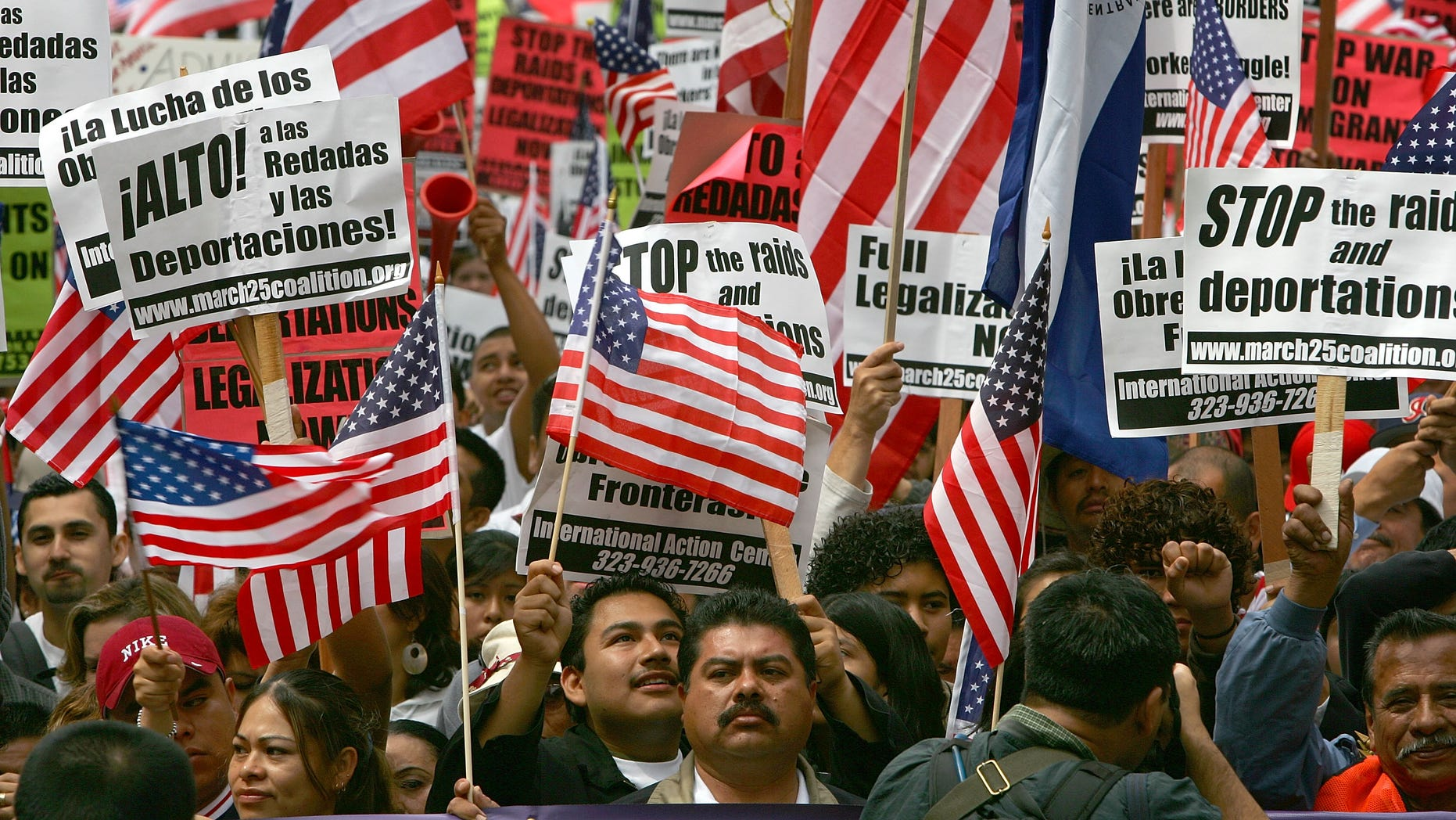 LOS ANGELES - MAY 1:  Demonstrators march to City Hall in one of several May Day marches and rallies in southern California and in at least 75 cities nationwide to press for immigrant and labor rights May 1, 2007 in Los Angeles, California. The protest is expected to be smaller than the May 1, 2006 march that drew more than 650,000 protesters, the largest turnout in Los Angeles history when large numbers of illegal immigrants carrying the flags of both the U.S. and their countries of origin sparked an anti-immigrant rights backlash among conservatives. Some of the anger that motivated protesters in 2006 was reportedly lessened as Congress failed to pass legislation that would have criminalized illegal immigrants and toughened U.S.-Mexico border enforcement.  (Photo by David McNew/Getty Images)