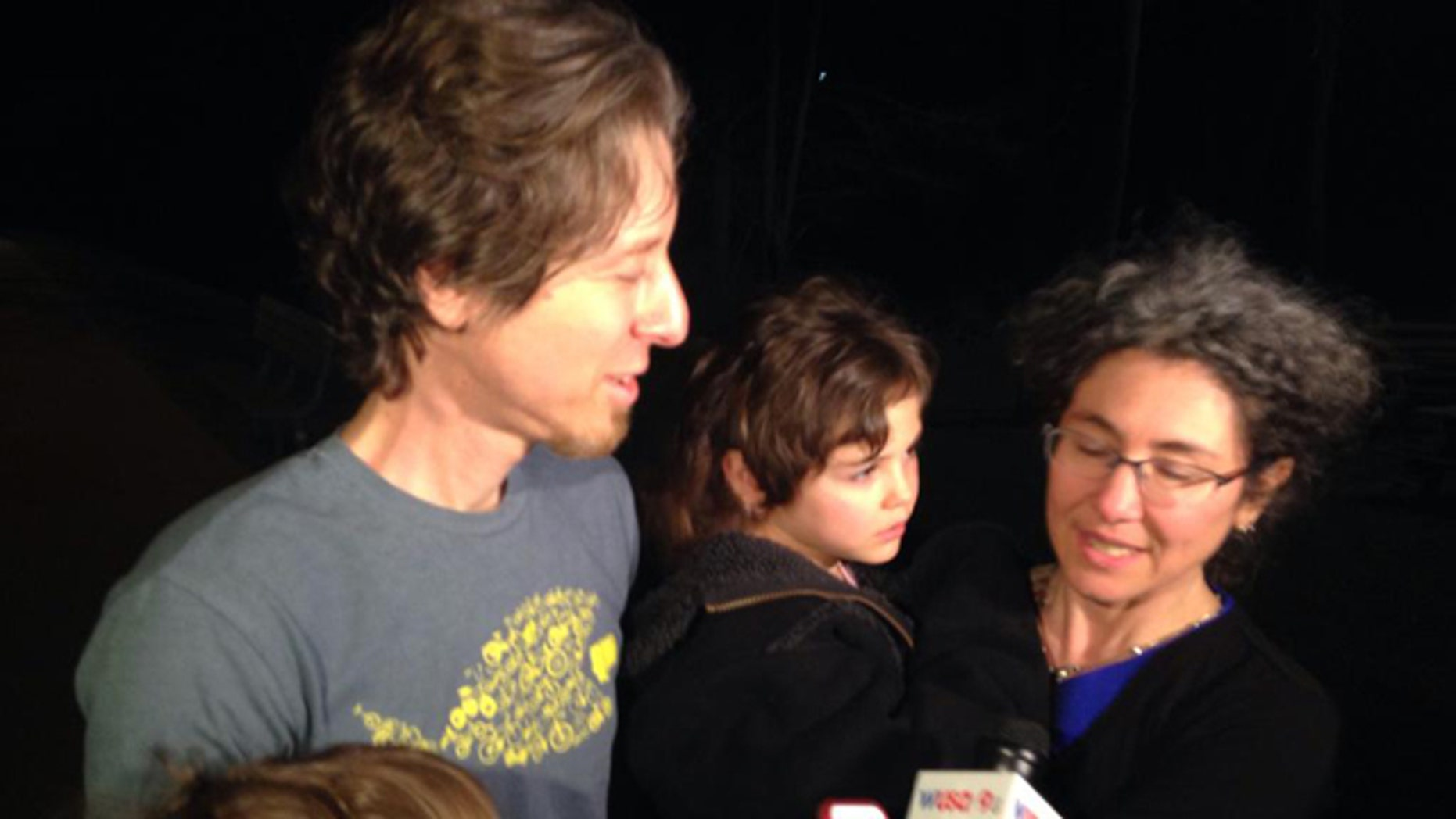 April 12, 2015: Danielle and Alexander Meitiv speak to reports after being reunited with their children at the Montgomery County (Md.) Child Protective Services office in Rockville, Md. (Marrina Marraco/MyFoxDC.com)