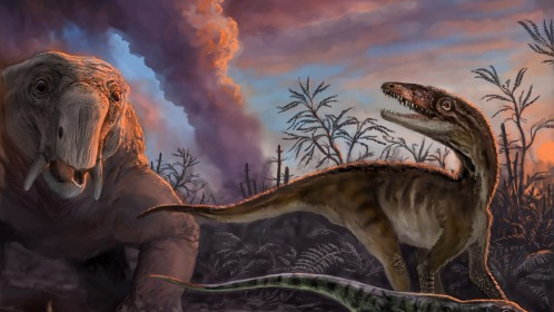 Animals escaping from an erupting volcano 235 million years ago in northwestern Argentina. These species, found as fossils in the Chañares Formation, include early mammal relatives (the dicynodont Dinodontosaurus in the left background, and the cynodont Massetognathus in the left foreground) and early dinosaur precursors (Lewisuchus in the right background, and Lagerpeton in the right foreground). By measuring radioactive isotopes in zircons crystals from the volcanic ash, scientists were able to determine the precise age of this fossil assemblage. (Victor Leshyk)