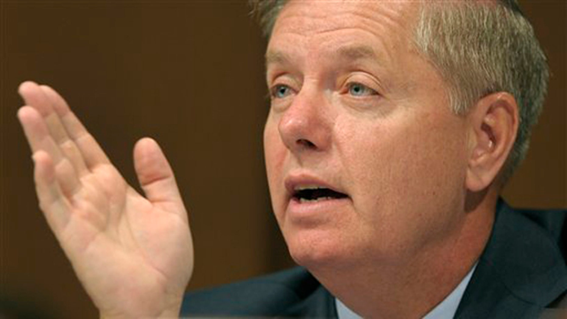 FILE: June 29, 2010: Sen. Lindsey Graham is shown here questioning Supreme Court nominee Elena Kagan on Capitol Hill, in Washington, D.C.