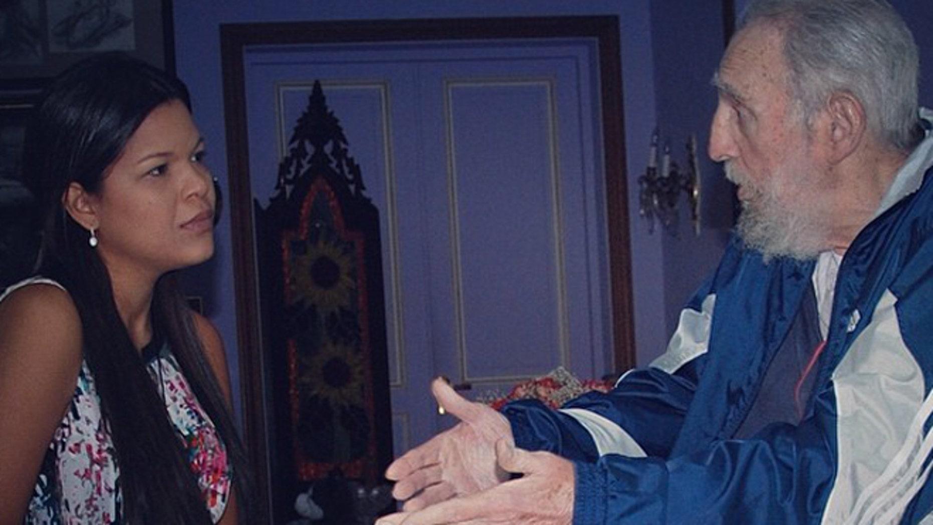 Maria Gabriela Chavez and Fidel Castro meet in Havana, Cuba, in April 2014.