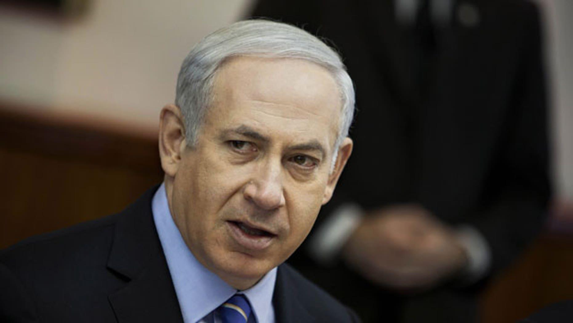 January 15, 2012: Israeli Prime Minister Benjamin Netanyahu attends the weekly cabinet meeting in Jerusalem.