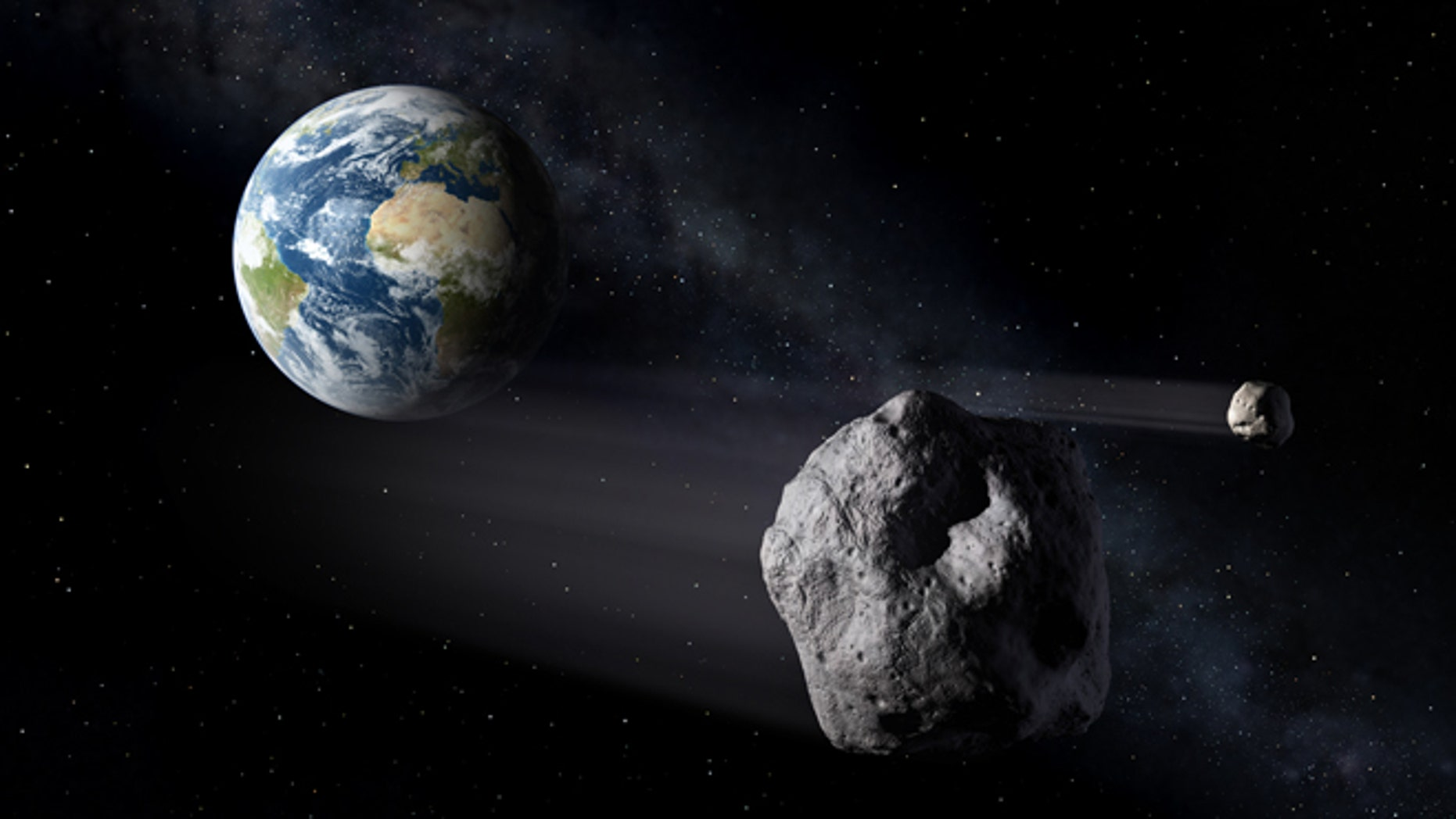 An artist's illustration of asteroids, or near-Earth objects, that highlight the need for a complete Space Situational Awareness system.