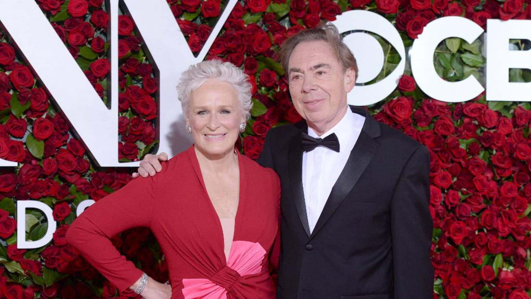 Glenn Close , left, and Andrew Lloyd Webber arrive at the Tony Awards at the Beacon Theatre on Sunday, June 12, 2016, in New York. (Photo by Charles Sykes/Invision/AP)
