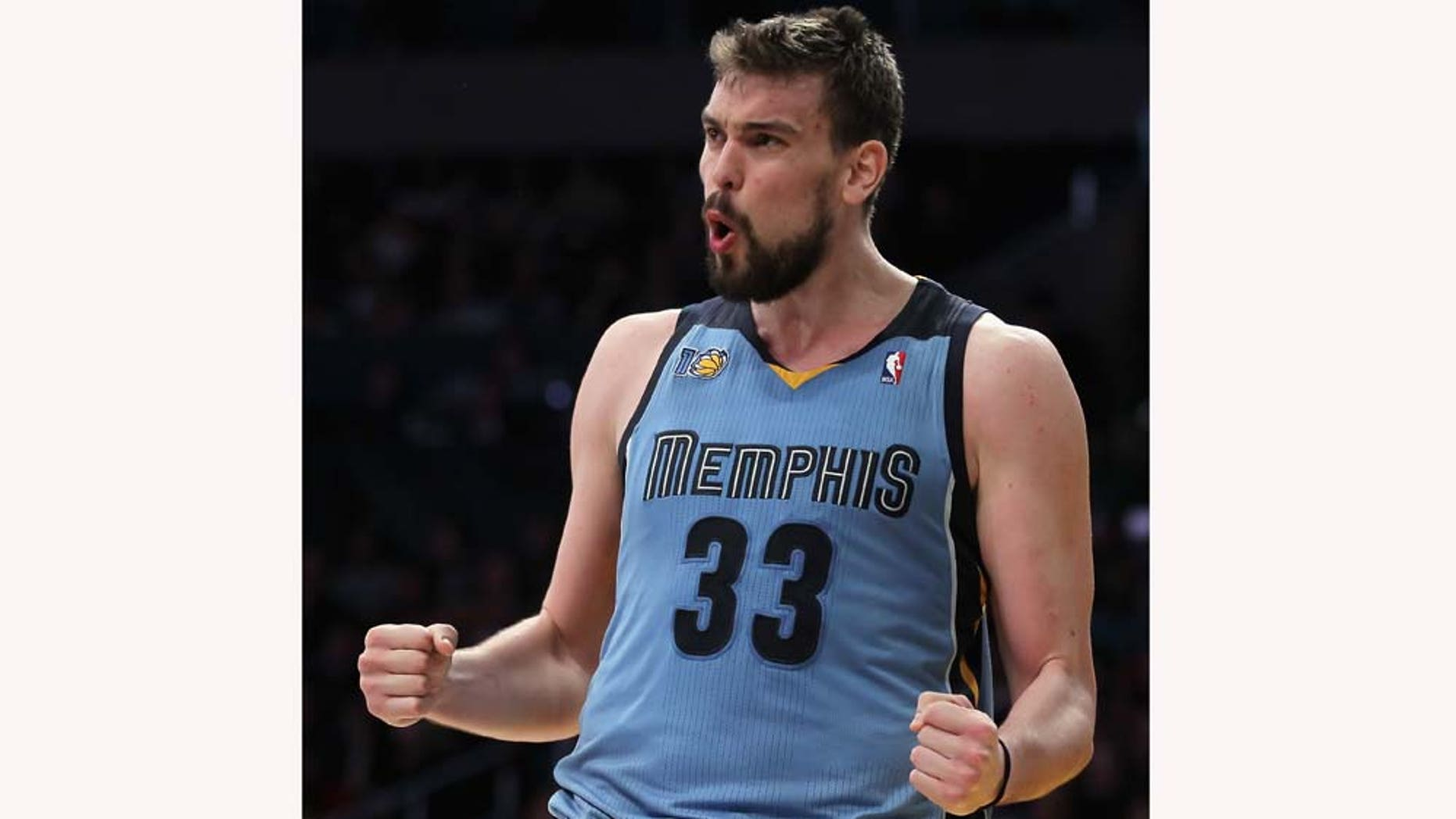 LOS ANGELES, CA - JANUARY 02:  Marc Gasol #33 of the Memphis Grizzlies reacts after committing a foul against the Los Angeles Lakers during the second half at Staples Center on January 2, 2011 in Los Angeles, California. The Grizzlies defeated the Lakers 104-85. NOTE TO USER: User expressly acknowledges and agrees that, by downloading and or using this photograph, User is consenting to the terms and conditions of the Getty Images License Agreement.  (Photo by Jeff Gross/Getty Images)