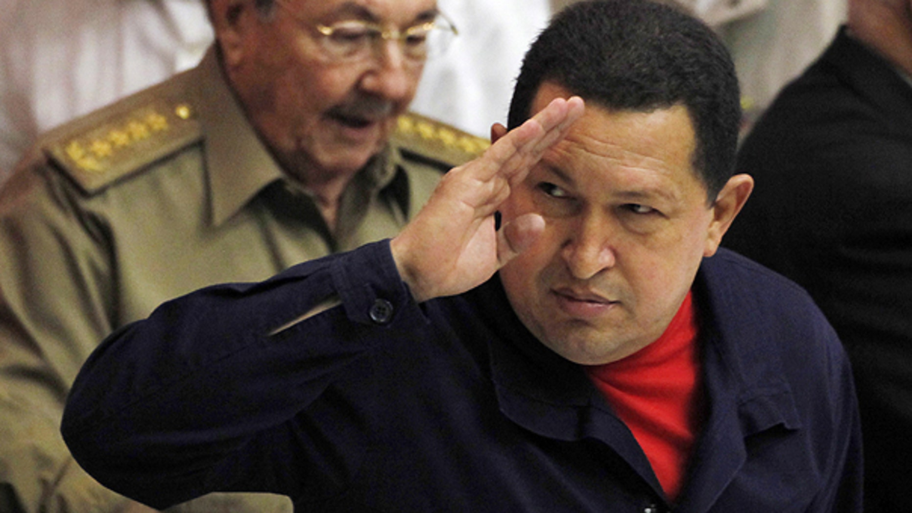 Nov. 8, 2010: Venezuela's President Hugo Chavez salutes during a meeting in Havana, Cuba.