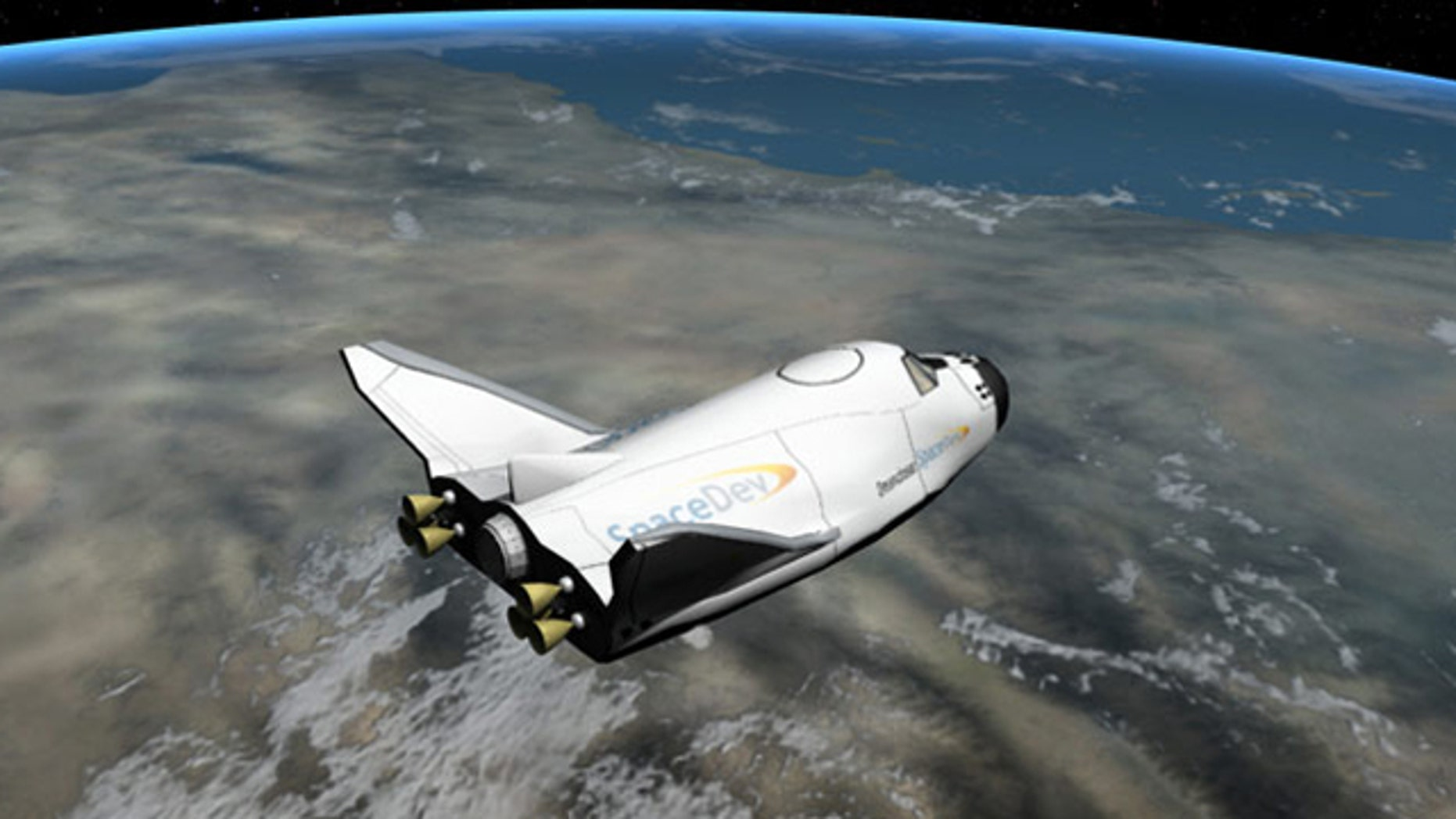 """An artist's interpretation of the Dream Chaser vehicle after spacecraft separation -- a potential """"space taxis"""" under development by Sierra Nevada Corp.."""