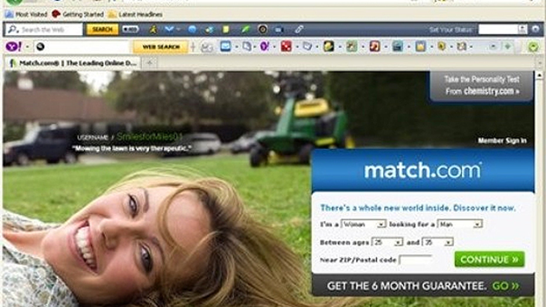 March 24: In this screen shot, the match.com home page is shown.