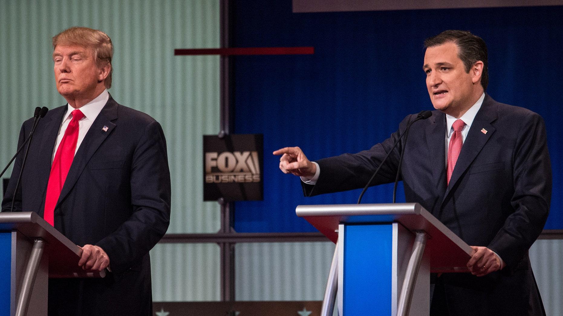 Ted Cruz gestures as he speaks during the debate.
