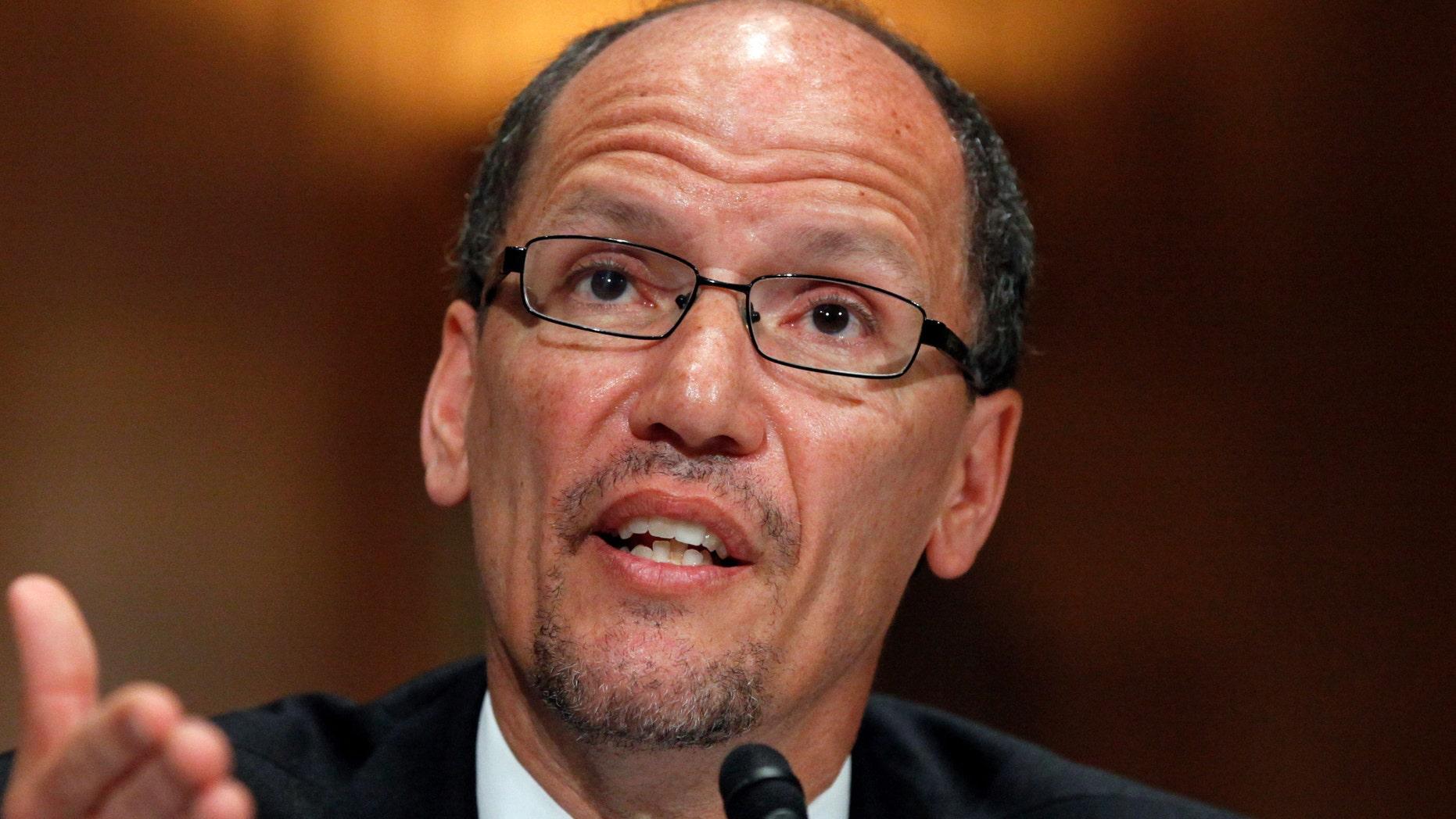 Labor Secretary nominee Thomas Perez testifies on Capitol Hill in Washington.