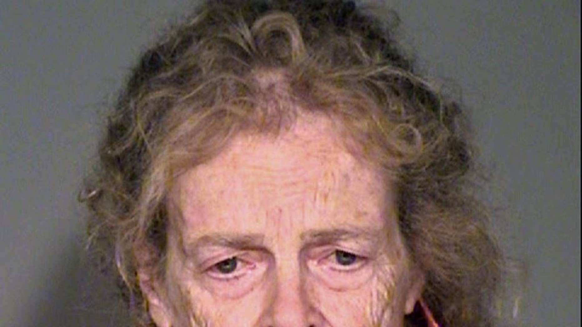This Sunday, July 17, 2016, photo provided by the Simi Valley, Calif., Police Department shows Mary Karacas, 75. Karacas was arrested for investigation of murder after her 83-year-old boyfriend was found dead in their home Simi Valley home Sunday. The body of Salvatore Orefice was discovered in a bed Sunday by a man who had bought the house in Simi Valley from the couple in June, and stopped by to check their progress with moving out. (Simi Valley Police Department via AP)