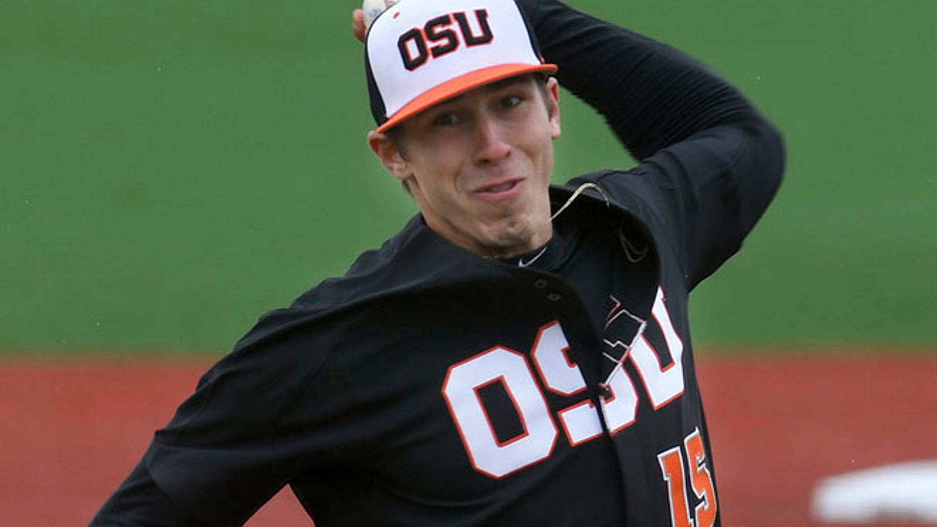 FILE: , Oregon State pitcher Luke Heimlich throws during an NCAA college baseball game against UC Davis in Corvallis, Ore.
