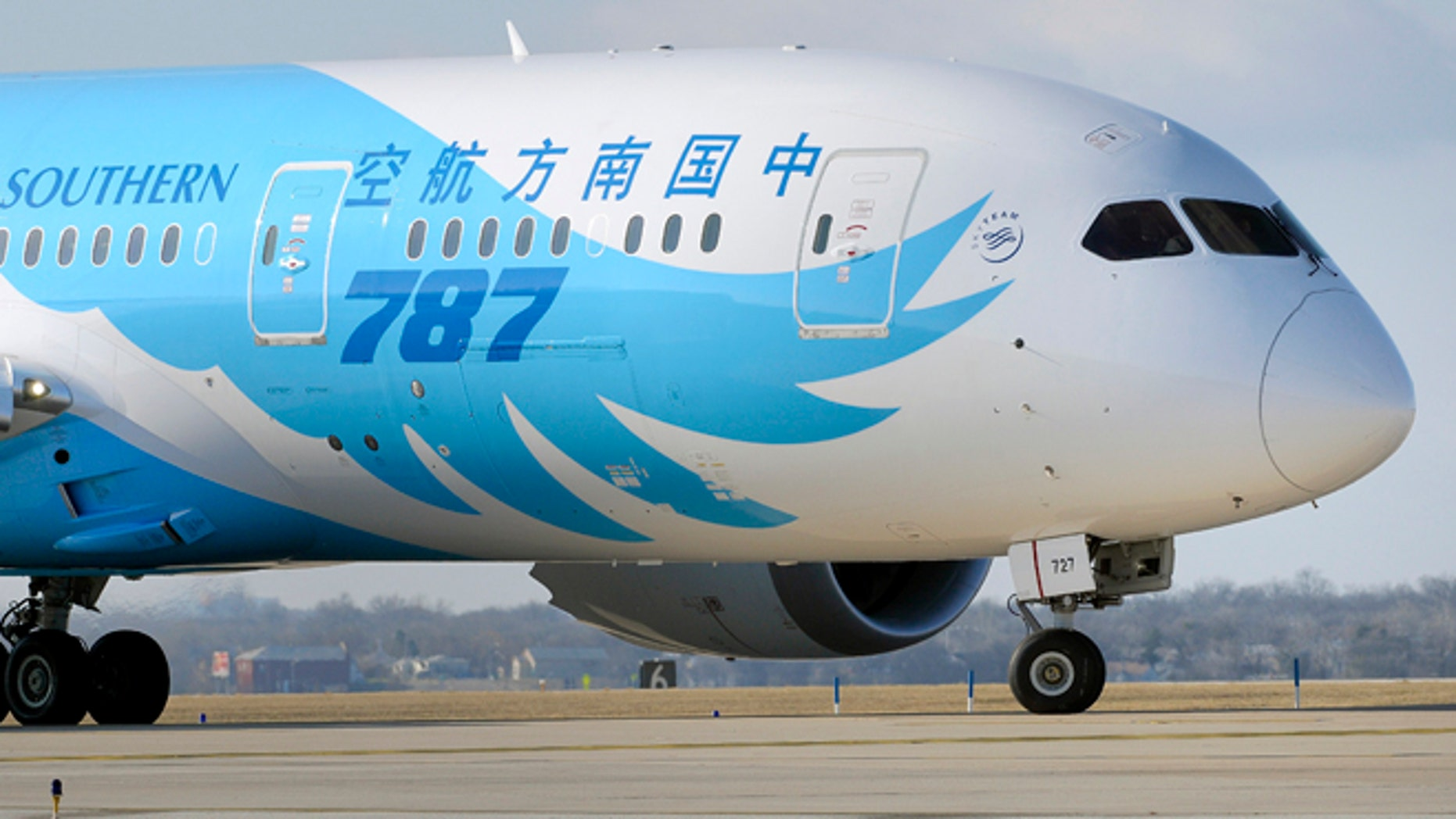 Feb. 7, 2013: A Boeing 787 jet that has been at Meacham International Airport in Fort Worth, Texas for about a month while being painted for China Southern, prepares to take off.