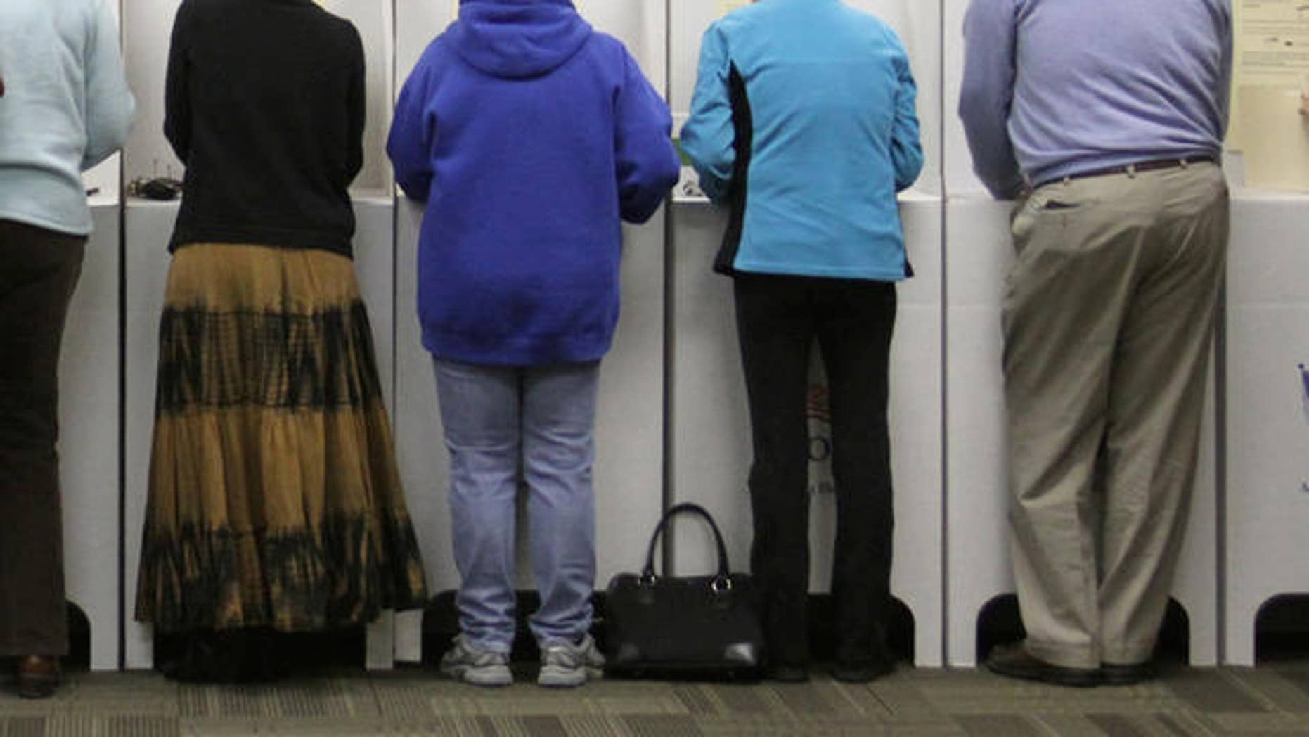 Voters cast their ballots in the general election on Tuesday, Nov. 2, 2010 in Star, Idaho. (AP Photo/Charlie Litchfield)