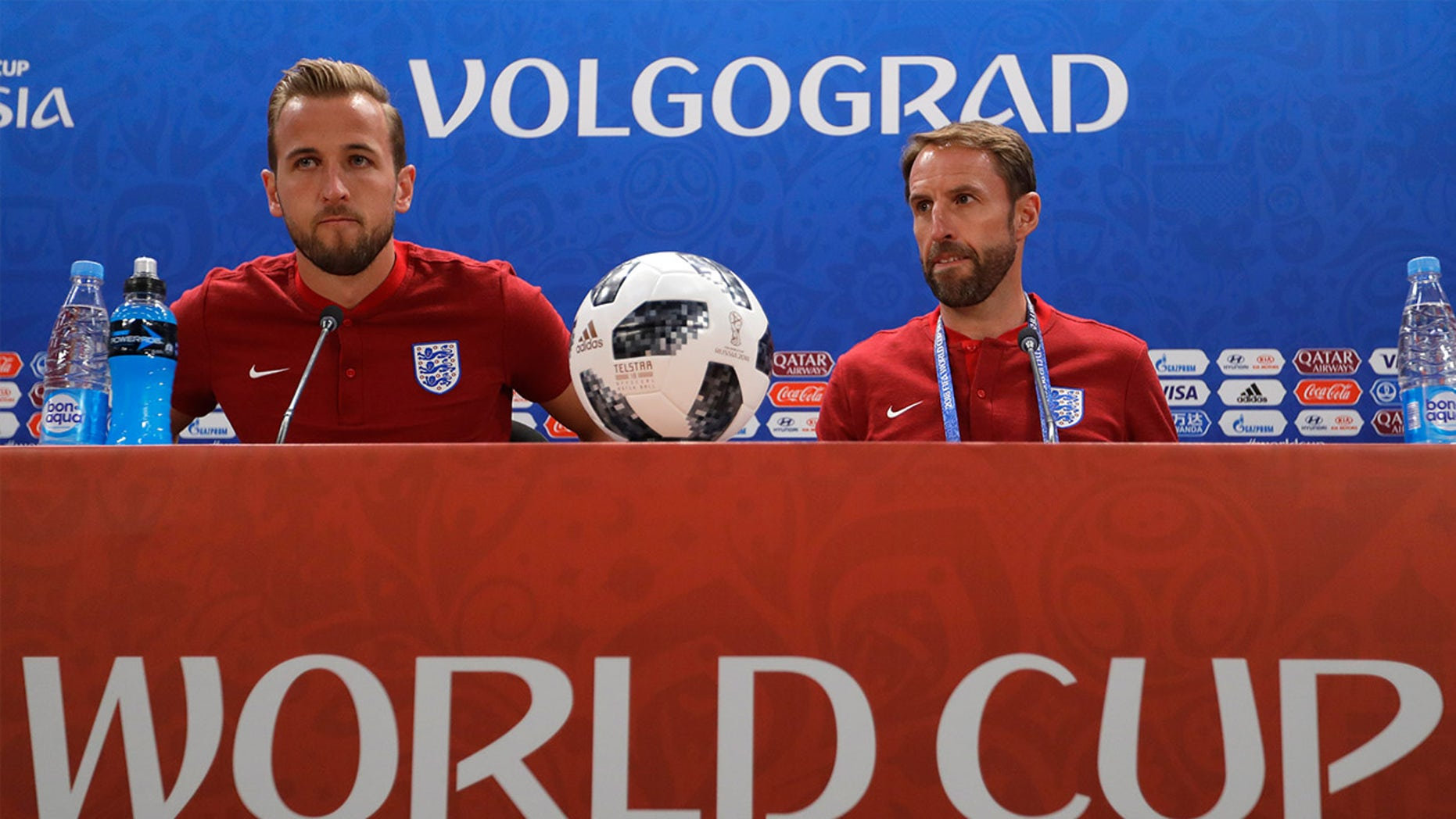 England's Harry Kane, left, and England head coach Gareth Southgate at a press conference in Volgograd, Russia, Sunday, June 17, 2018.