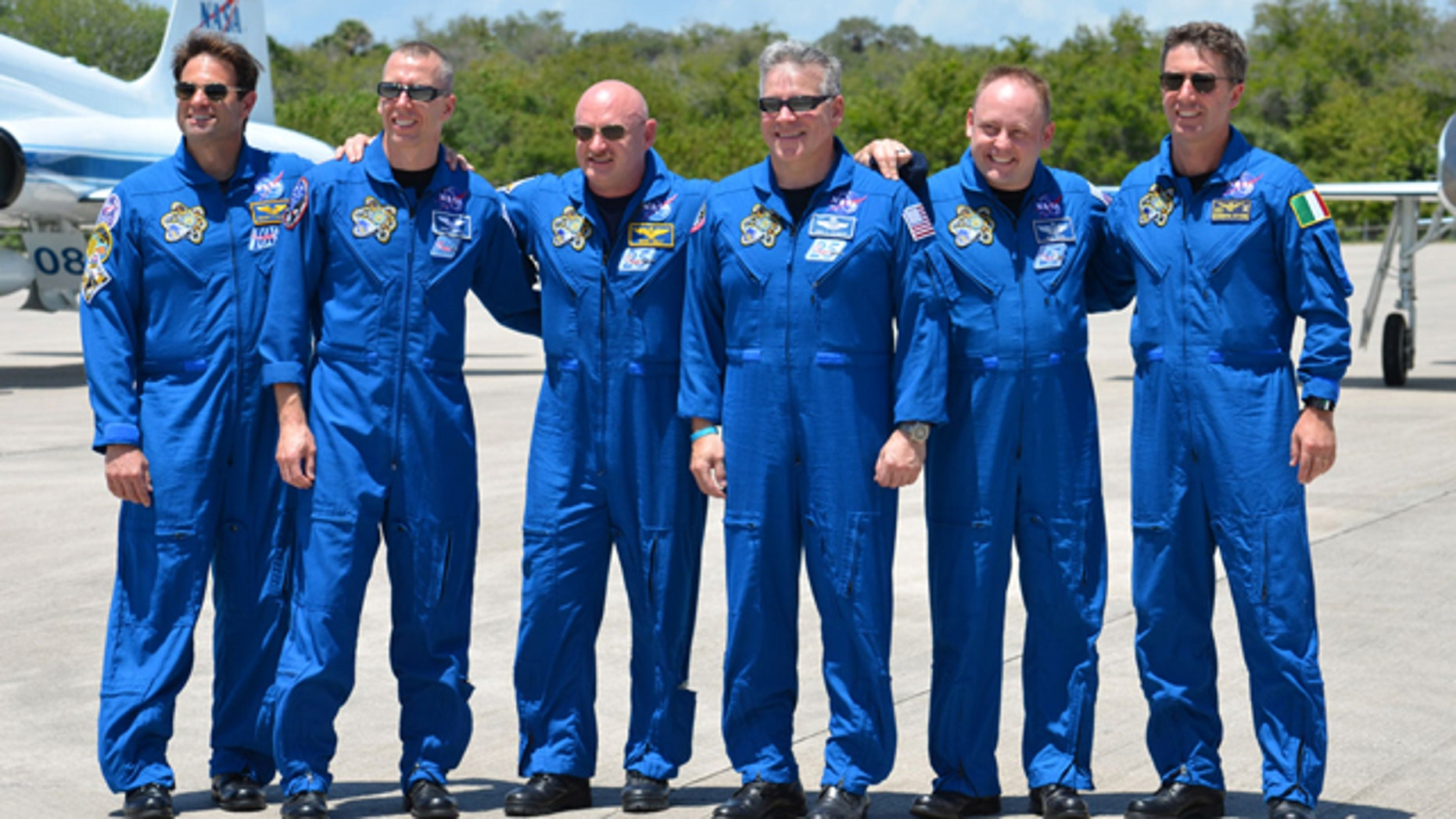 The space shuttle Endeavour's STS-134 crew arrives at NASA's Kennedy Space Center in Florida.