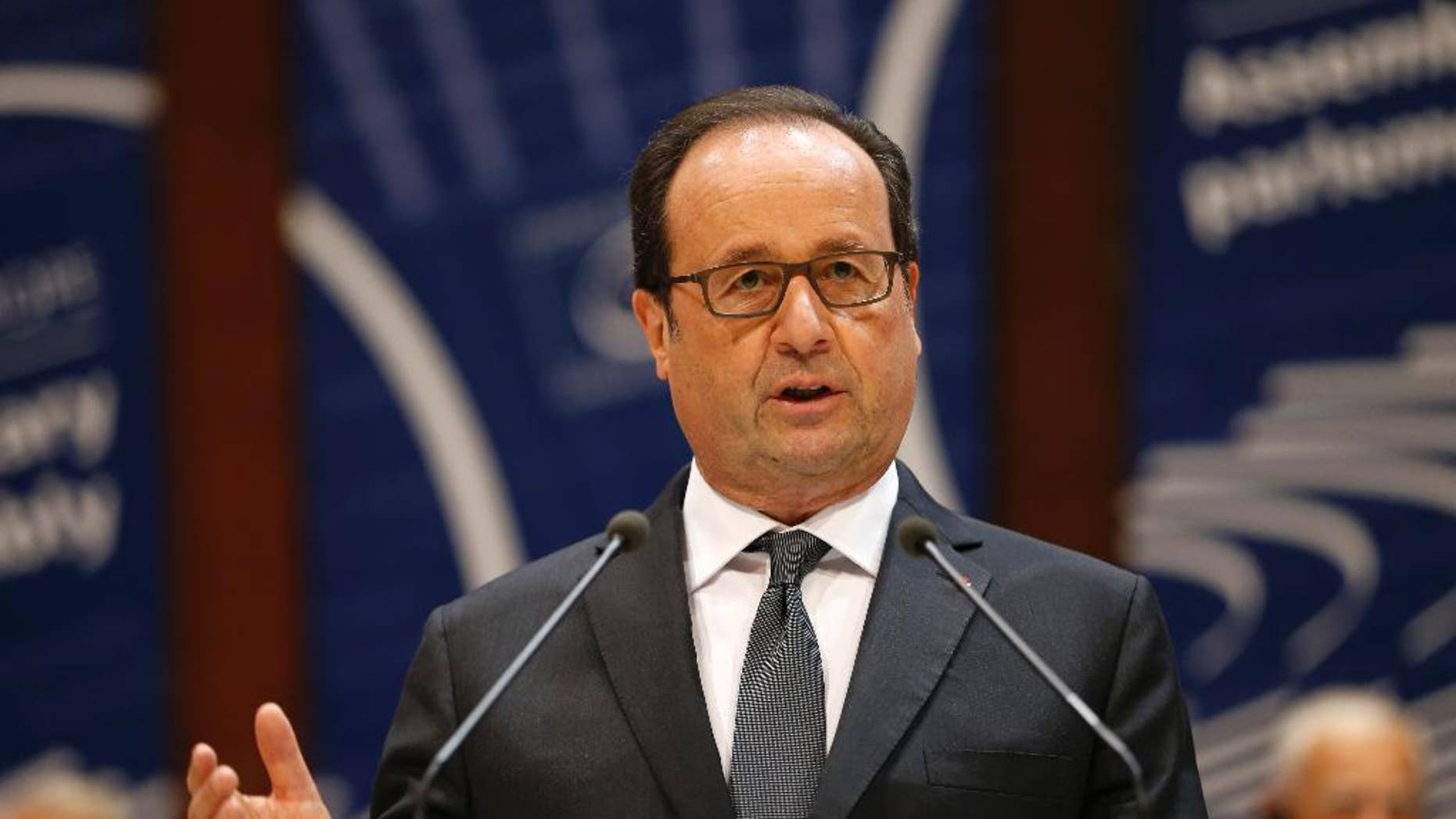 French President Francois Hollande  delivers his speech at the Council of Europe in Strasbourg, eastern France, Tuesday, Oct. 11, 2016. Russian President Vladimir Putin indefinitely postponed a visit to France amid differences over its program, the Kremlin said Tuesday, a move that comes amid a bitter rift over Syria. (AP Photo/Jean-Francois Badias)
