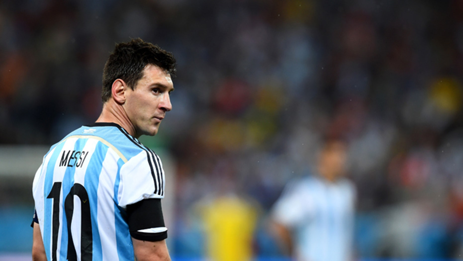 Lionel Messi of Argentina looks on at Arena de Sao Paulo on July 9, 2014 in Sao Paulo, Brazil.
