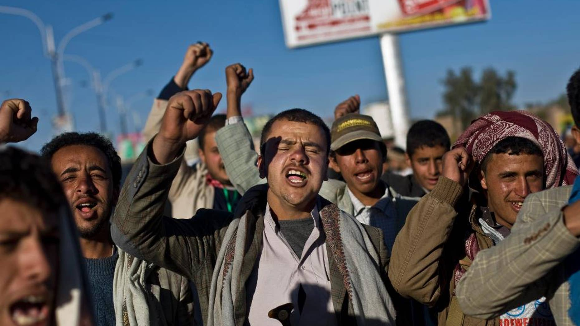 Houthi Shiite Yemenis chant slogans during a rally to show support for their comrades, in Sanaa, Yemen, Wednesday, Jan. 28, 2015. (AP Photo/Hani Mohammed)