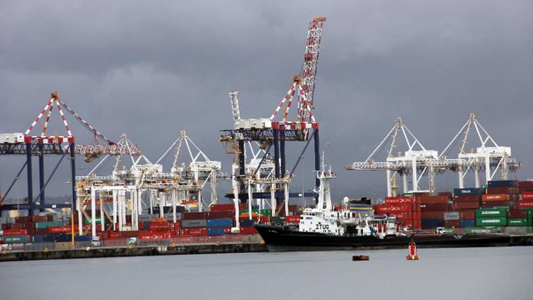 Cargo ship and cranes at the port of Durban on March 25, 2013
