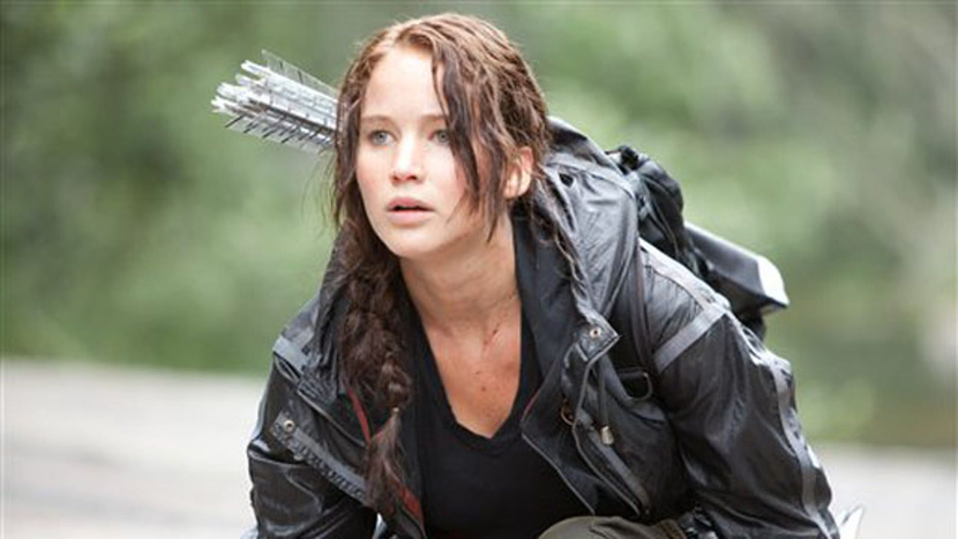 """Jennifer Lawrence portrays Katniss Everdeen in a scene from """"The Hunger Games."""""""
