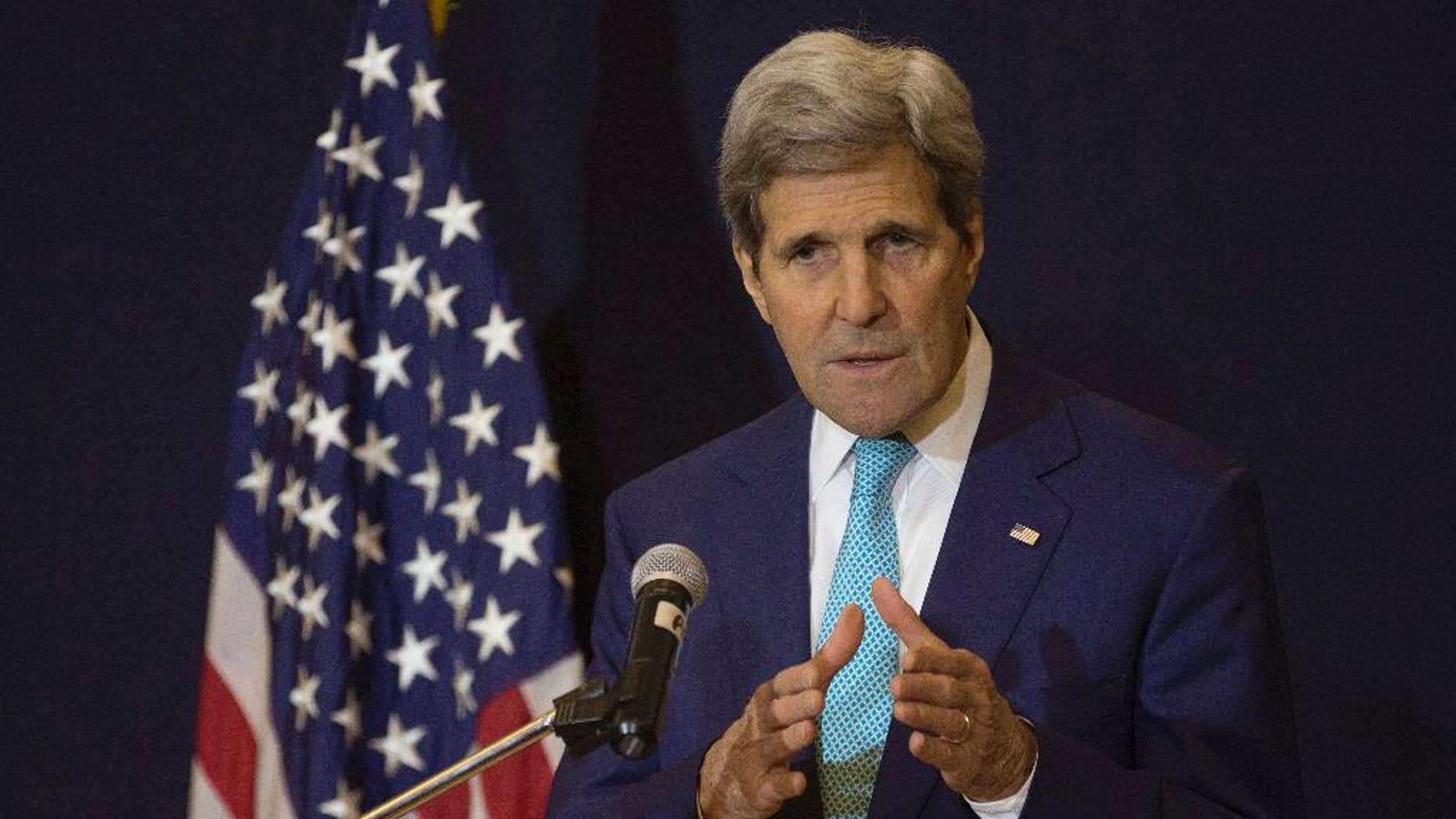 """U.S. Secretary of State John Kerry speaks at a news conference in Sharm el-Sheikh March 14, 2015, after attending the Egypt Economic Development Conference the previous day. Kerry says he hopes Israel elects a government that can address the country's domestic needs and also """"meets the hope for peace."""" (AP Photo/Brian Snyder, Pool)"""
