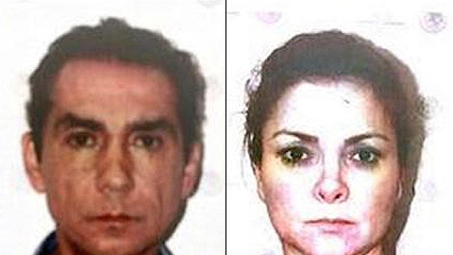 FILE - In this Nov. 5, 2014, two-image composite file photo, released by Mexico's Attorney General's office (PGR) shows the former mayor of the town of Iguala, Jose Luis Abarca, left, and his wife, Maria de los Angeles Pineda, after their arrest in Mexico City. The federal judiciary council said on Monday, Jan. 12, 2014, that a court ruled there was enough evidence to try Maria de los Angeles Pineda on charges she engaged in organized crime to traffic drugs and launder money. (AP Photo/PGR, File)