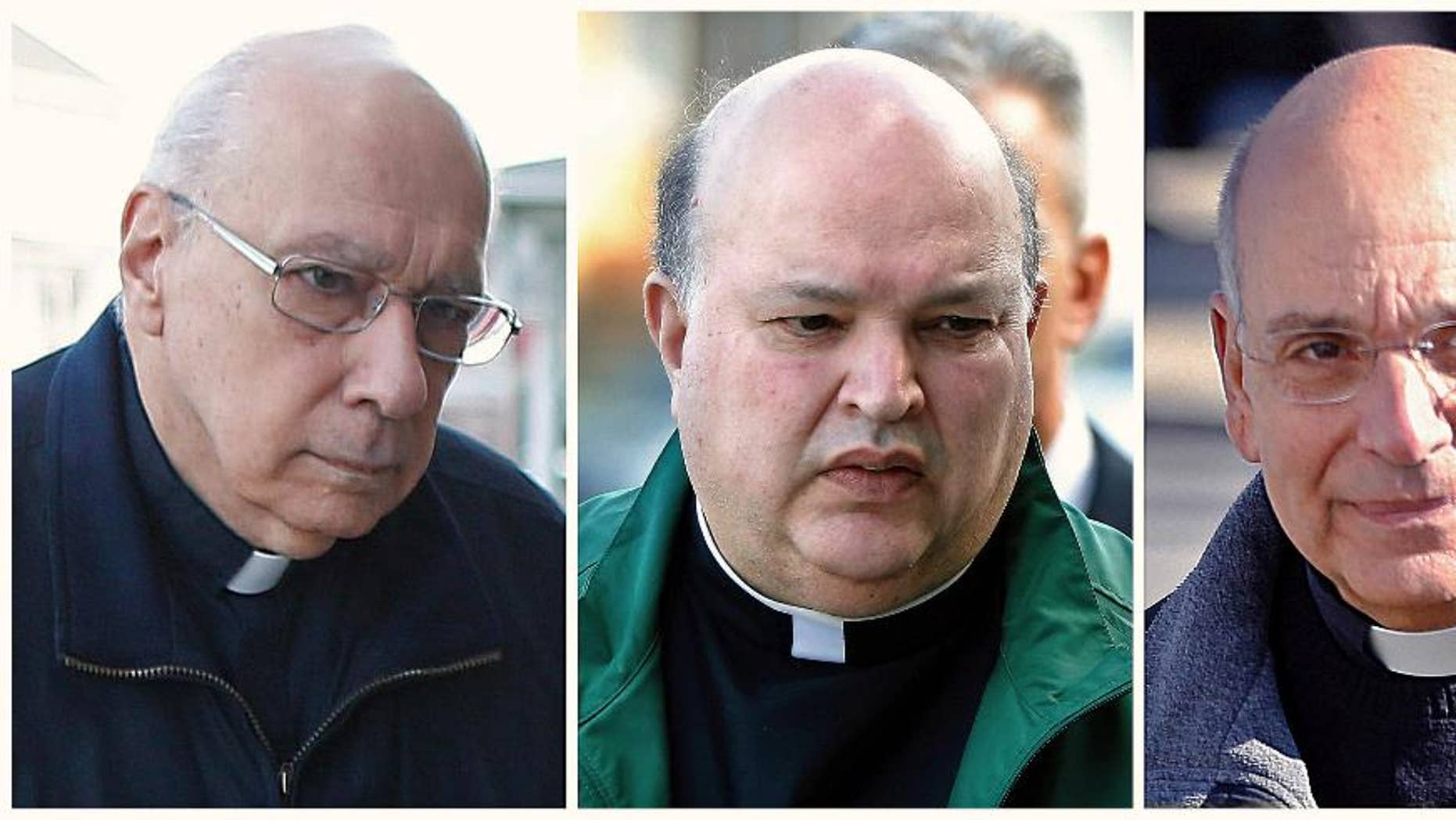 FILE - This combination of file photos from March 18, 2016, shows Giles Schinelli, left, Anthony Criscitelli, center, and Robert D'Aversa, right, when the three Franciscan friars were arraigned on charges of child endangerment and criminal conspiracy at a district magistrate in Hollidaysburg, Pa. Blair County, Pa., Judge Jolene Kopriva scheduled a Thursday, April 27, 2017, hearing after attorneys for Schinelli, Criscitelli and D'Aversa asked for the dismissal of charges that the friars didn't properly supervise a suspected sexual predator accused of molesting more than 100 children, most at a Pennsylvania high school, the Altoona Mirror reported Thursday, April 20. (AP Photo/Keith Srakocic, File)