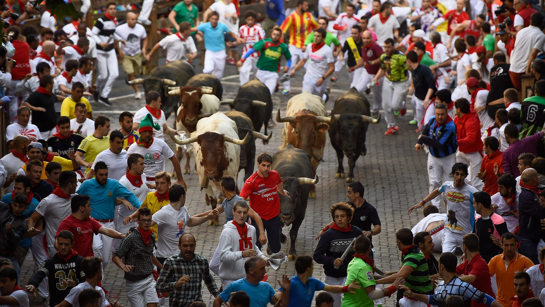 San Fermin Festival in Pamplona, Spain, Tuesday, July 14, 2015.