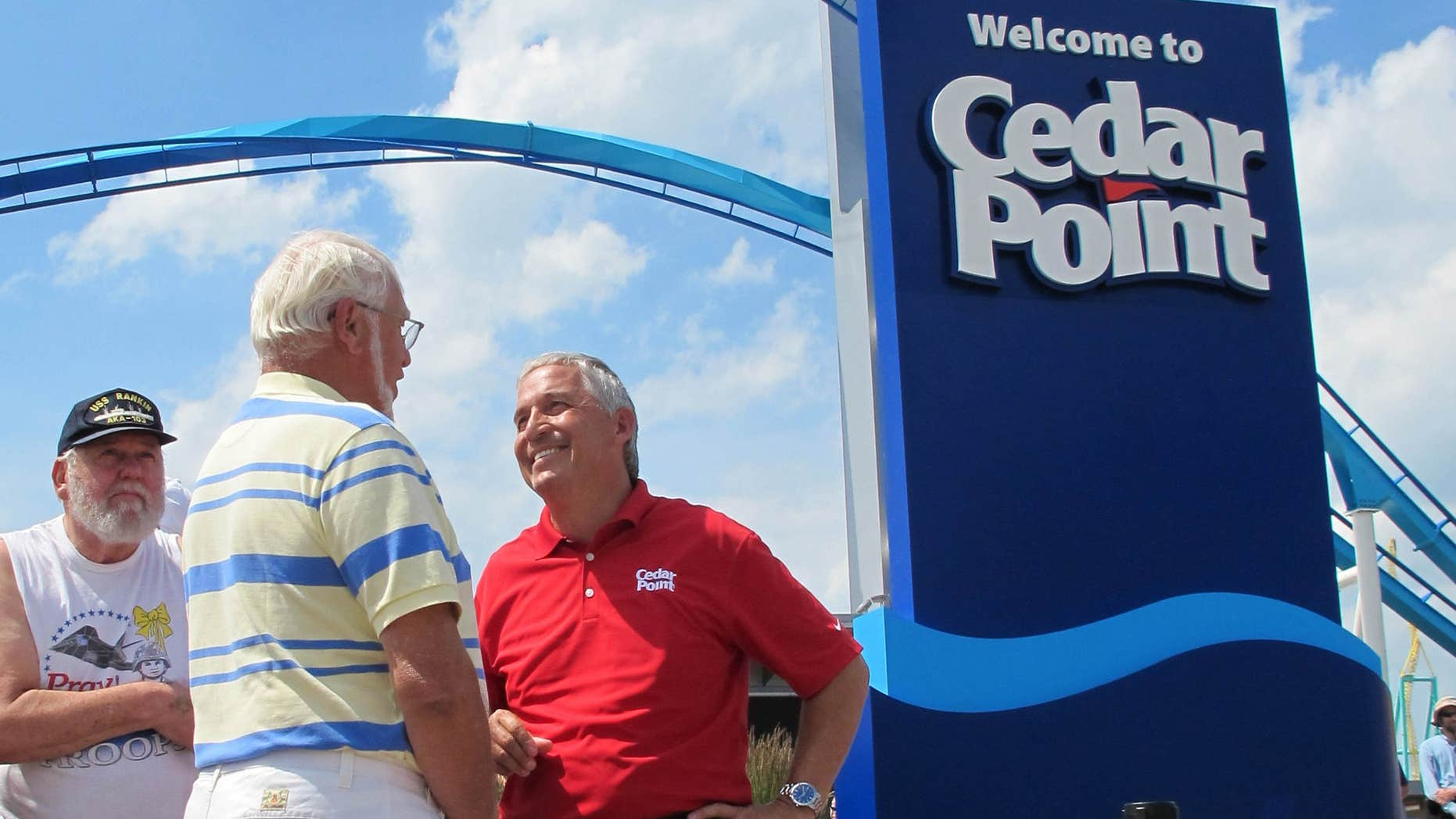 July 2, 2014: Matt Ouimet, chief executive of Cedar Fair Entertainment Co., greets a guest at Cedar Point amusement park, in Sandusky, Ohio.
