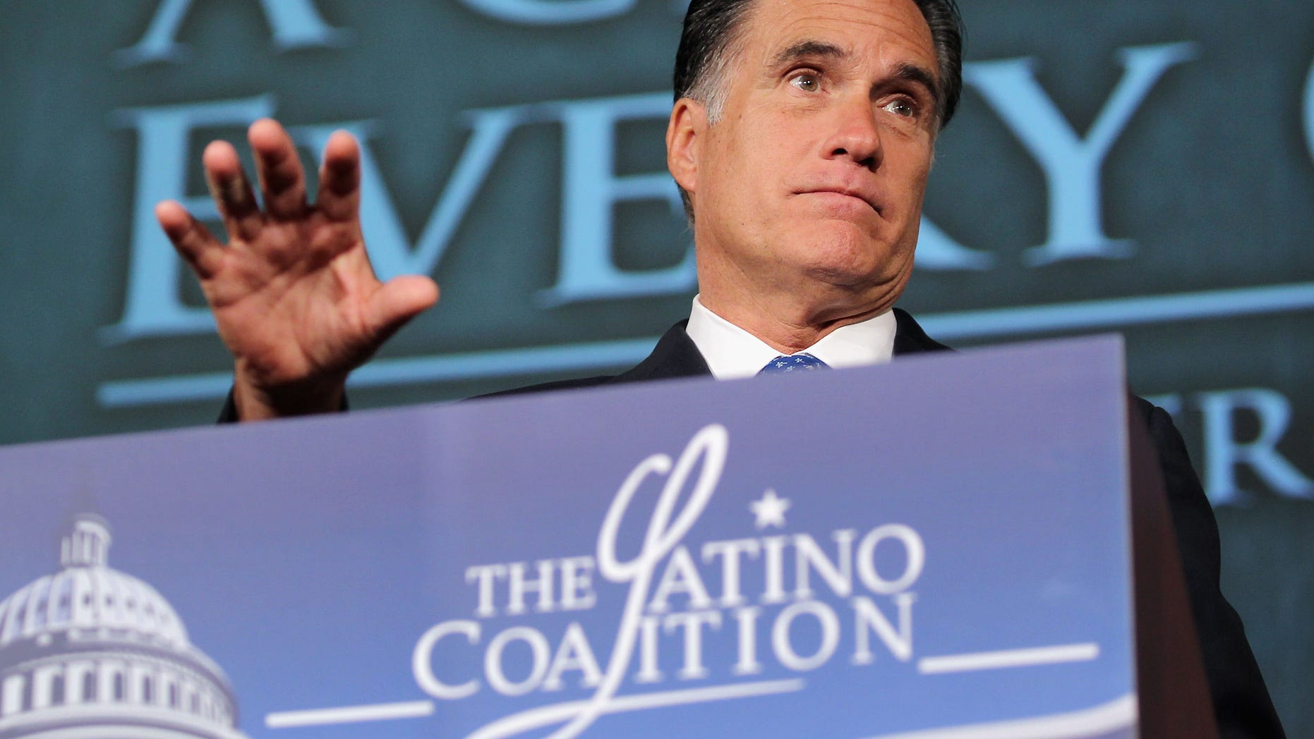 Republican presidential candidate, former Massachusetts Gov. Mitt Romney addresses the Latino Coalition;s 2012 Small Business Summit at the U.S. Chamber of Commerce .