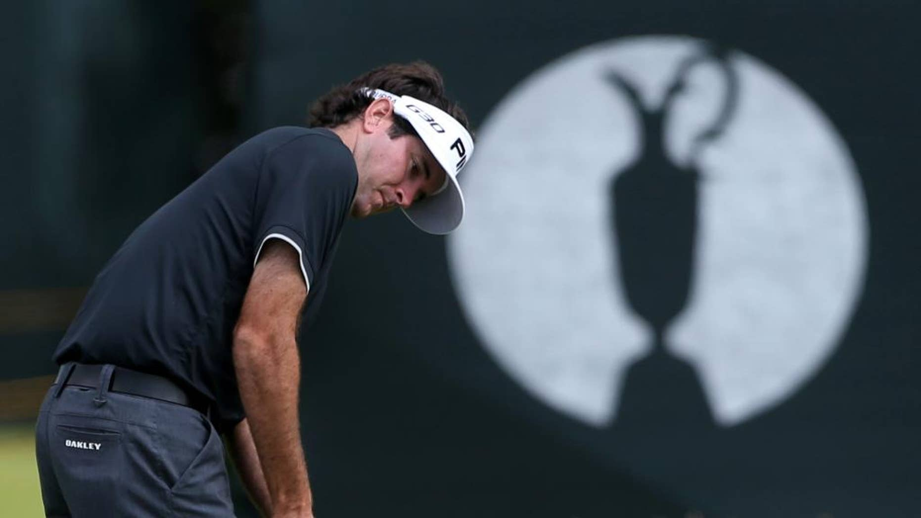 Bubba Watson of the US putts on the 16th green during a practice round ahead of the British Open Golf championship at the Royal Liverpool golf club, Hoylake, England, Wednesday July 16, 2014. The British Open Golf championship starts Thursday July 17. (AP Photo/Peter Morrison)