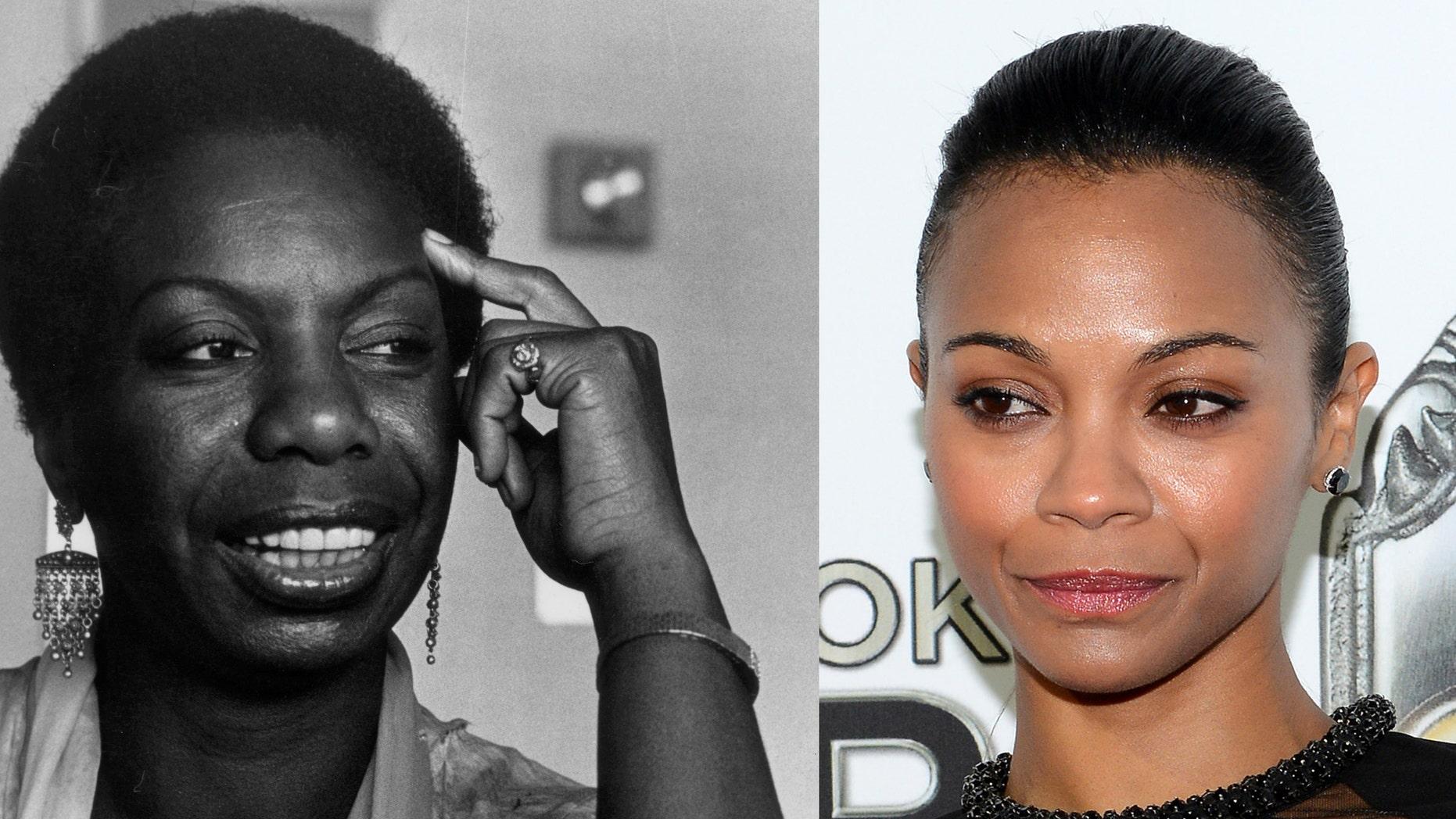 Nina Simone (l) in 1979. Zoe Saldana (r).
