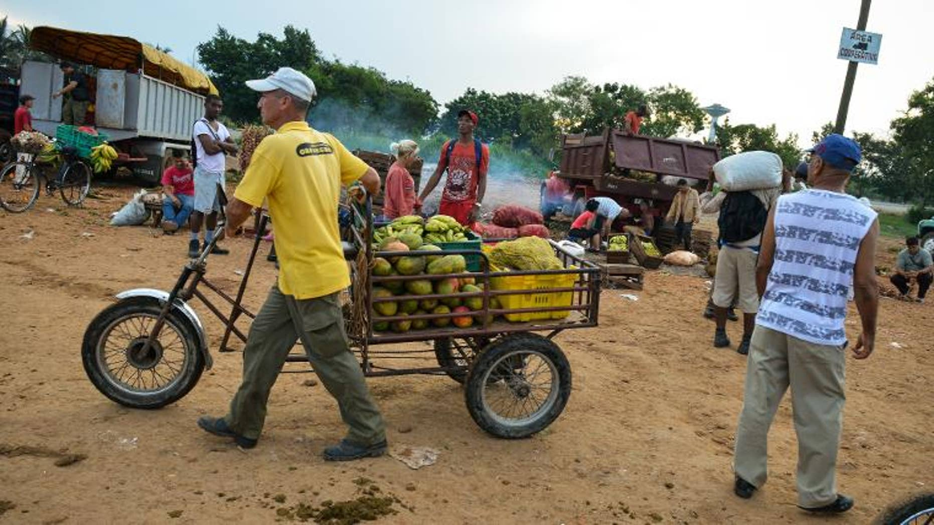 A fruits and vegetables retailer leaves a wholesale market in Havana, on August 6, 2013.