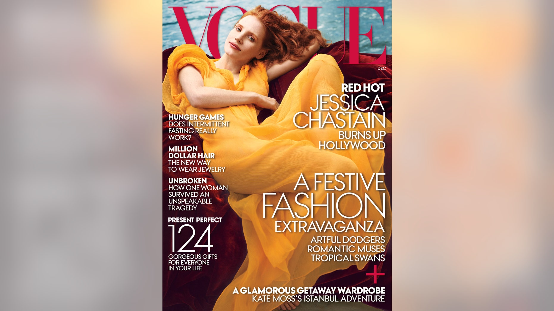 This image released by Vogue shows actress Jessica Chastain on the December cover of Vogue magazine. (AP Photo/Vogue)