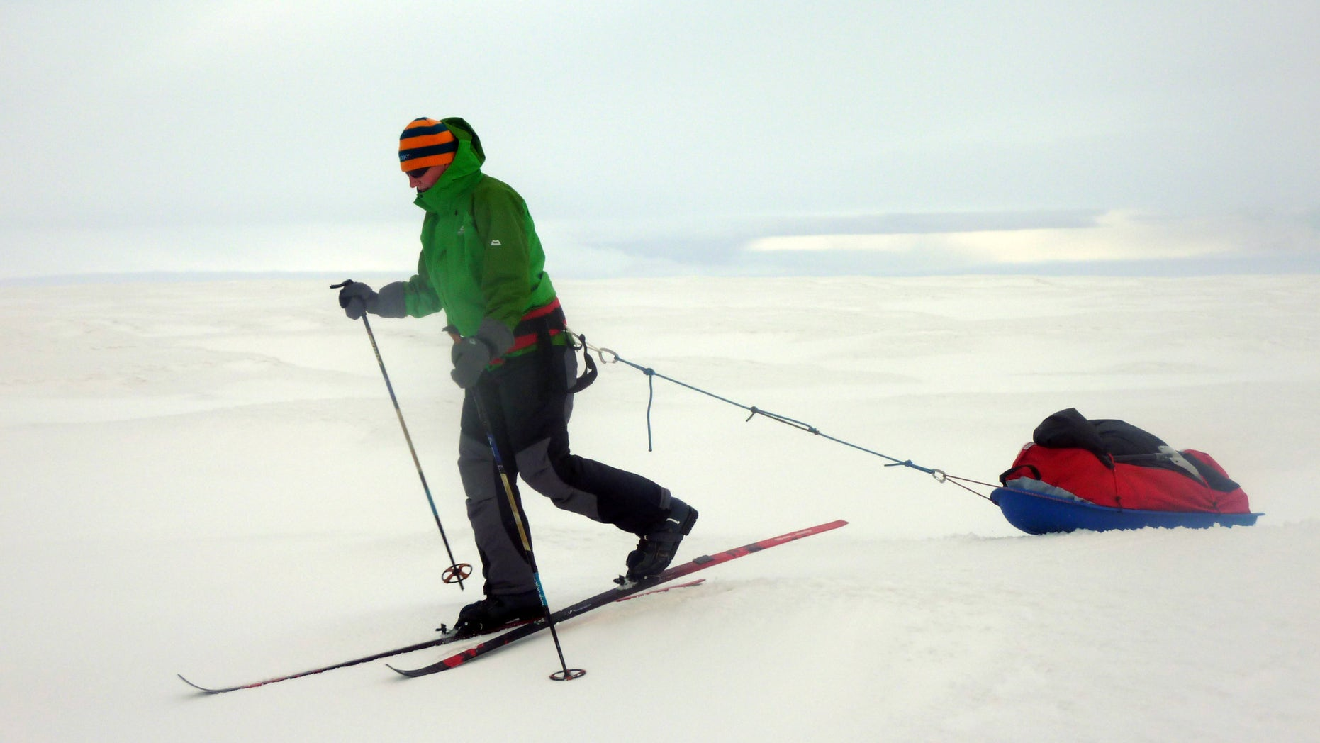 Sept. 24, 2010: British adventurer Felicity Aston skis across Iceland during a pre-expedition training trip. Aston plans to ski by herself across the Antarctica, all the way to the other side of the frozen continent.